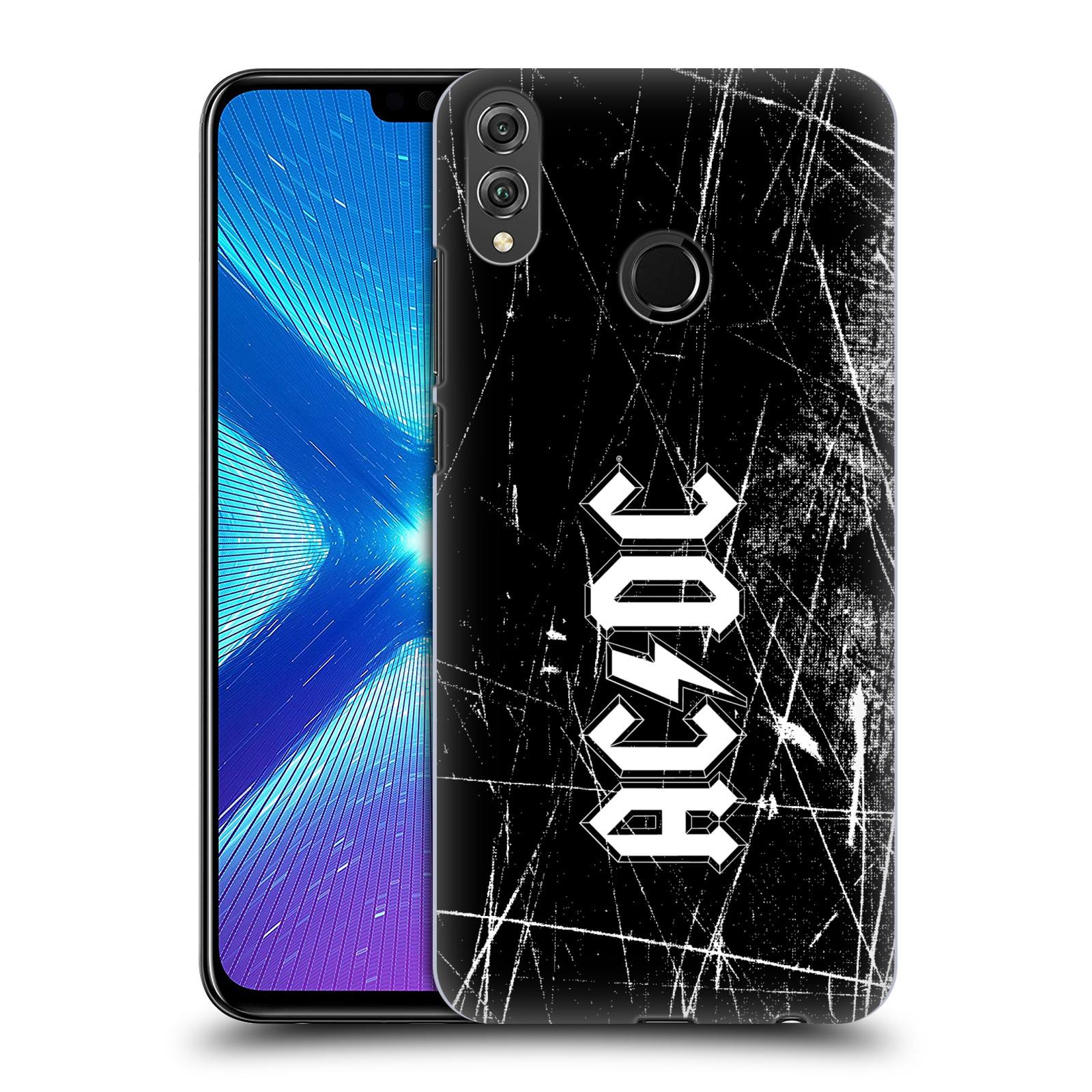 Plastové pouzdro na mobil Honor 8X - Head Case - AC/DC Černobílé logo
