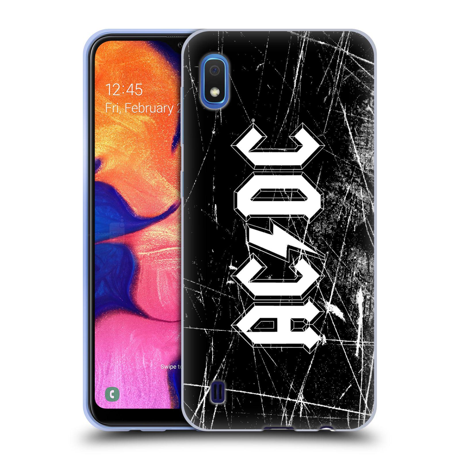 Silikonové pouzdro na mobil Samsung Galaxy A10 - Head Case - AC/DC Černobílé logo
