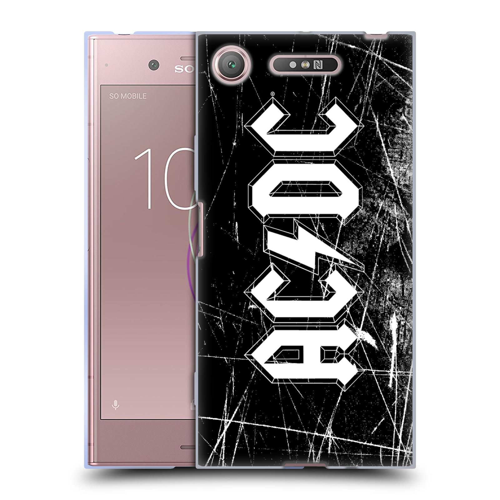 Silikonové pouzdro na mobil Sony Xperia XZ1 - Head Case - AC/DC Černobílé logo