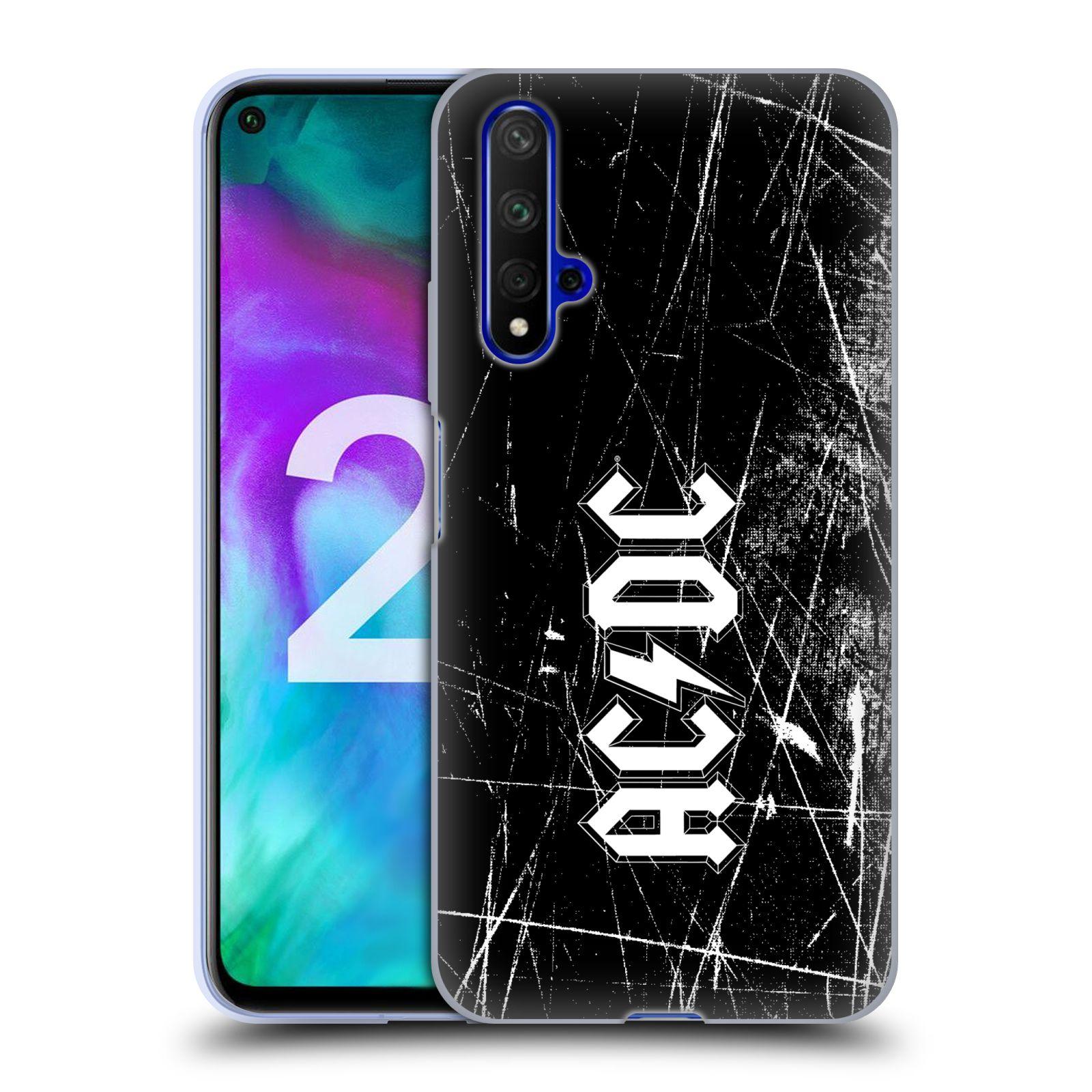 Silikonové pouzdro na mobil Honor 20 - Head Case - AC/DC Černobílé logo