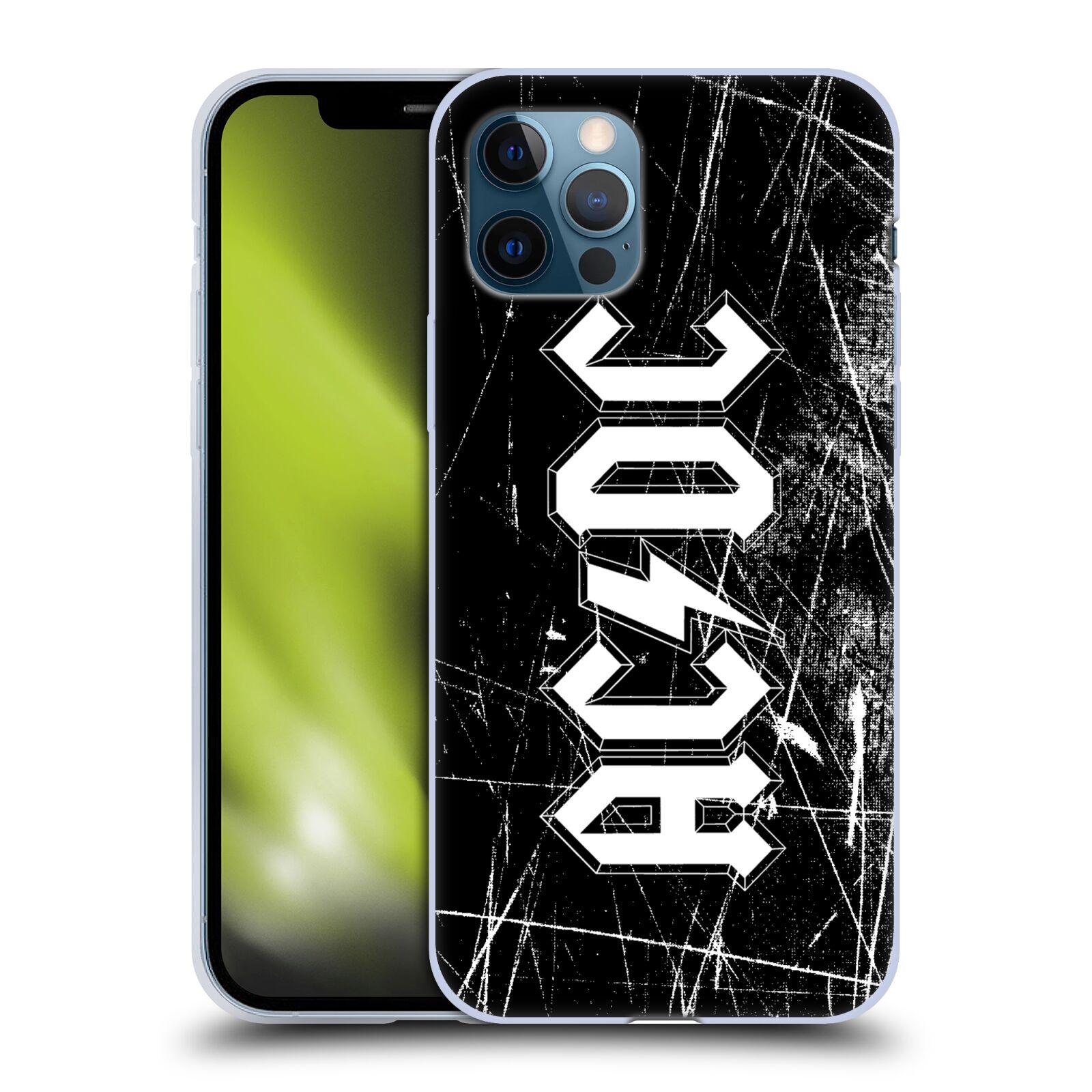 Silikonové pouzdro na mobil Apple iPhone 12 / 12 Pro - Head Case - AC/DC Černobílé logo