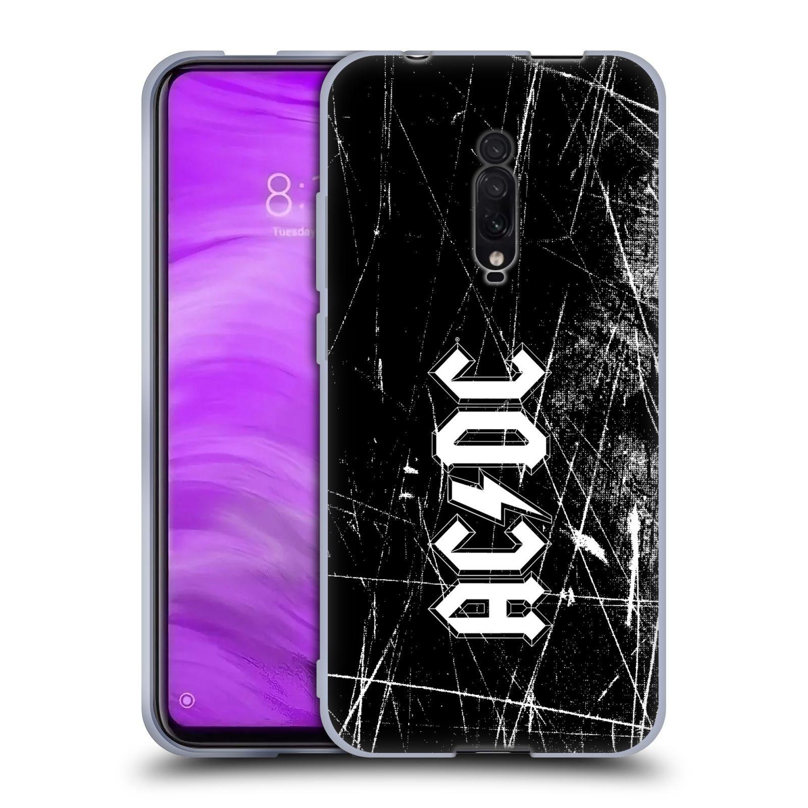 Silikonové pouzdro na mobil Xiaomi Mi 9T - Head Case - AC/DC Černobílé logo