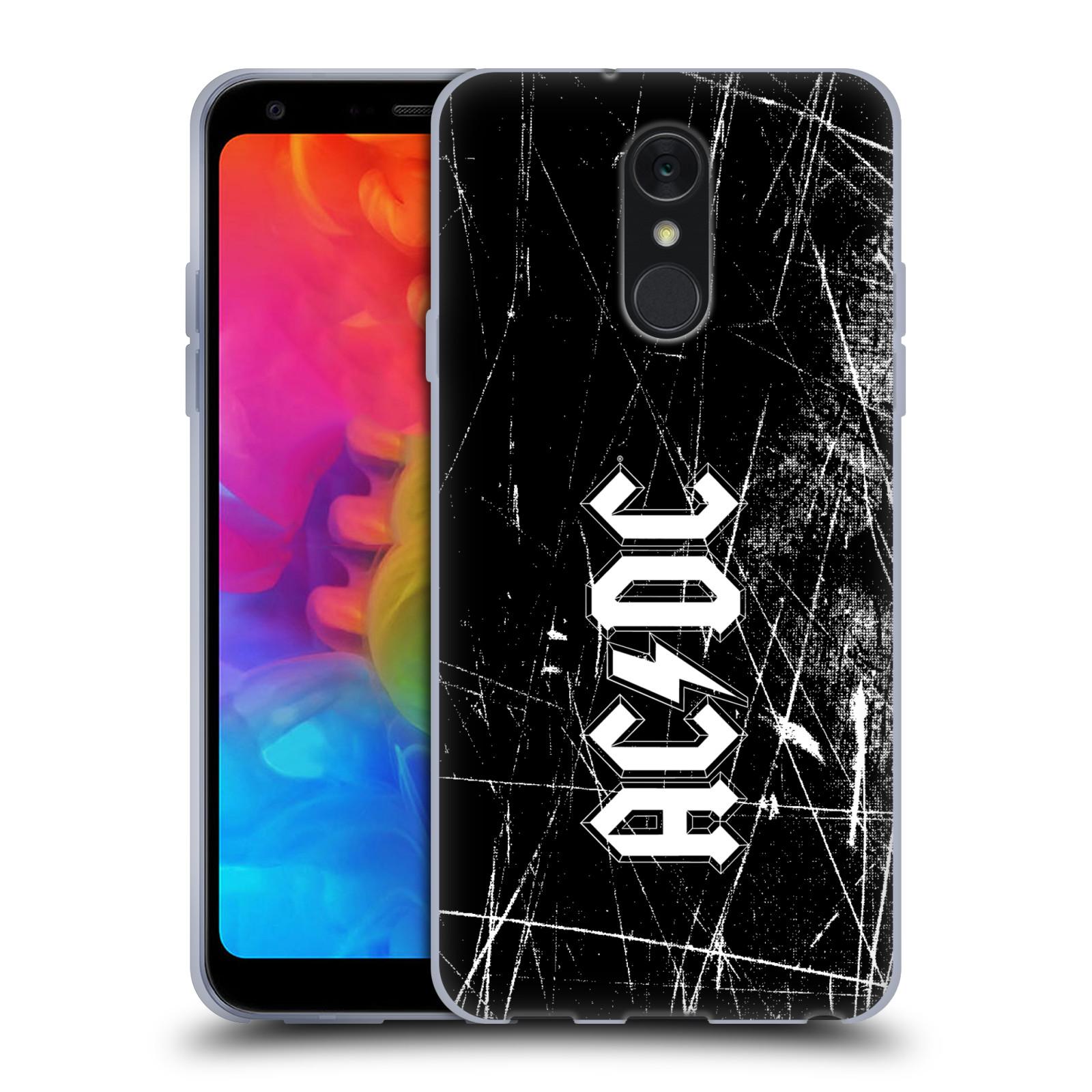 Silikonové pouzdro na mobil LG Q7 - Head Case - AC/DC Černobílé logo