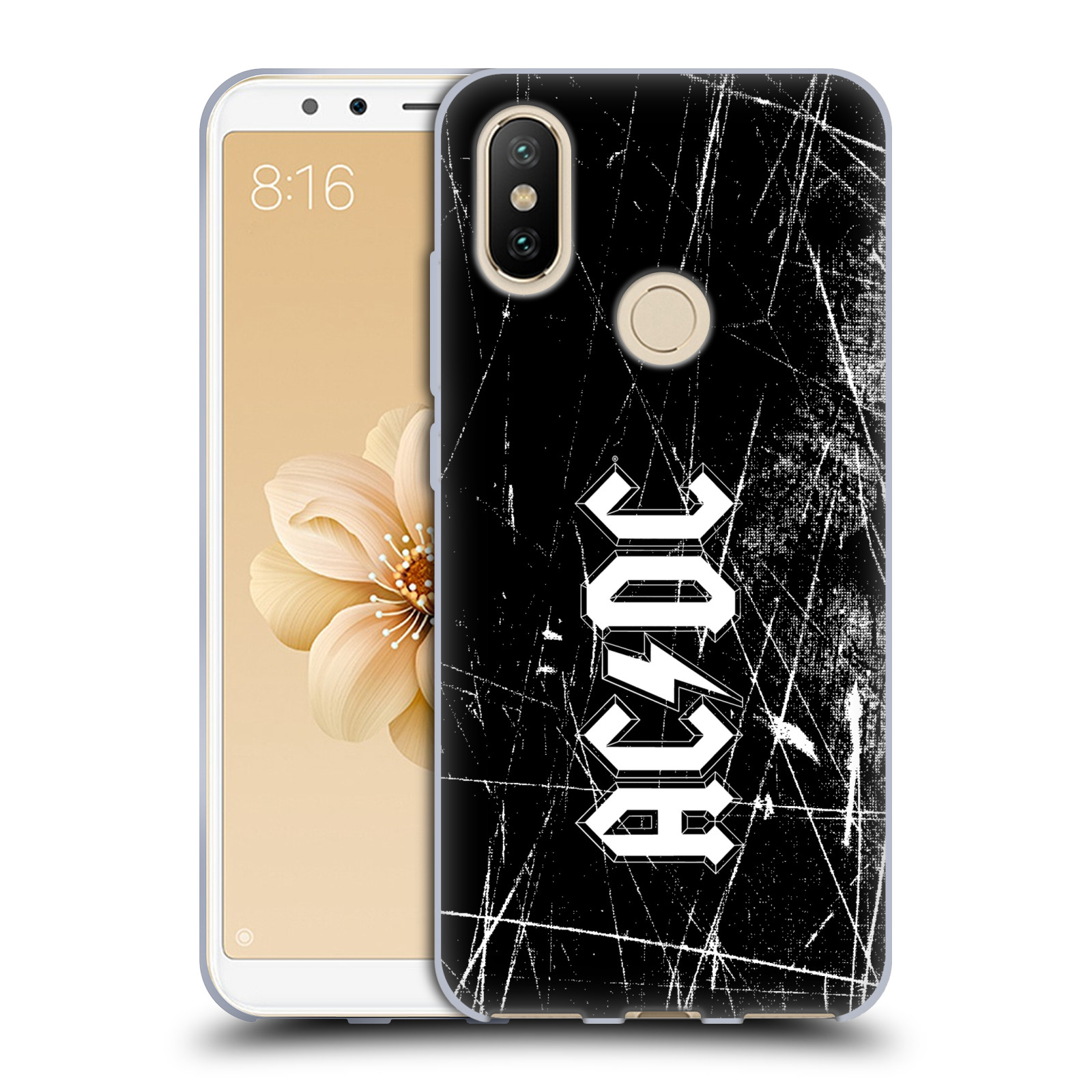 Silikonové pouzdro na mobil Xiaomi Mi A2 - Head Case - AC/DC Černobílé logo - ROZBALENO