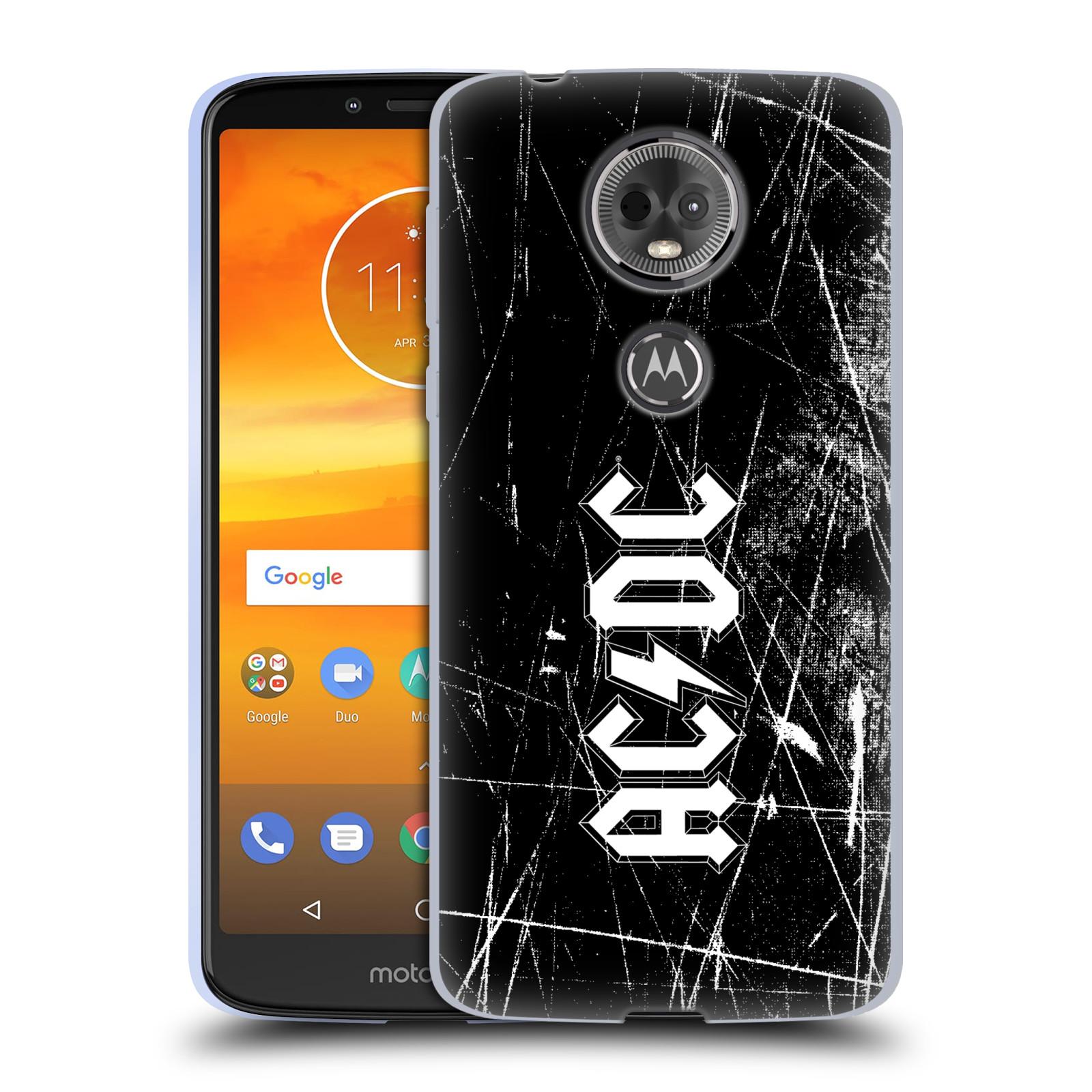 Silikonové pouzdro na mobil Motorola Moto E5 Plus - Head Case - AC/DC Černobílé logo