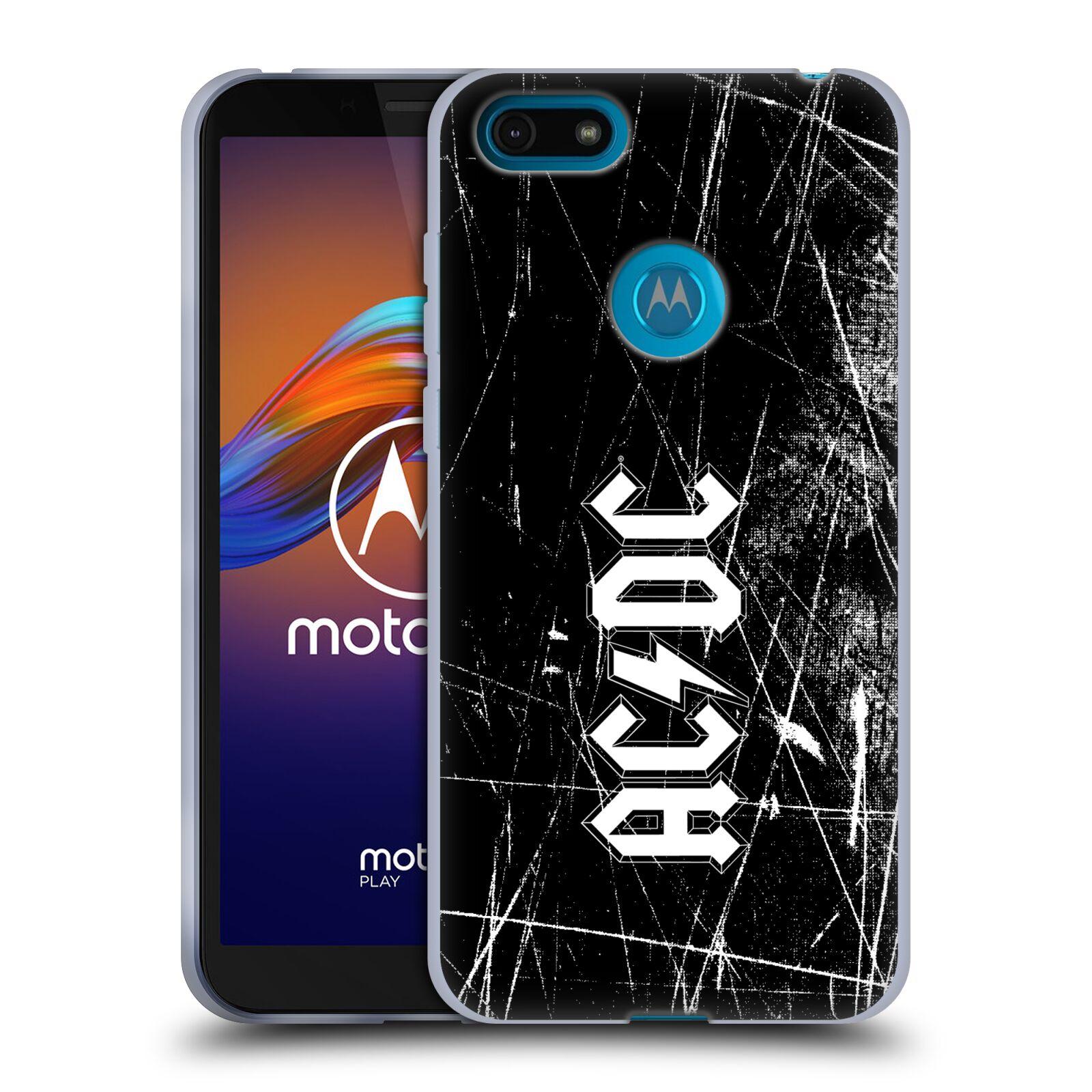 Silikonové pouzdro na mobil Motorola Moto E6 Play - Head Case - AC/DC Černobílé logo