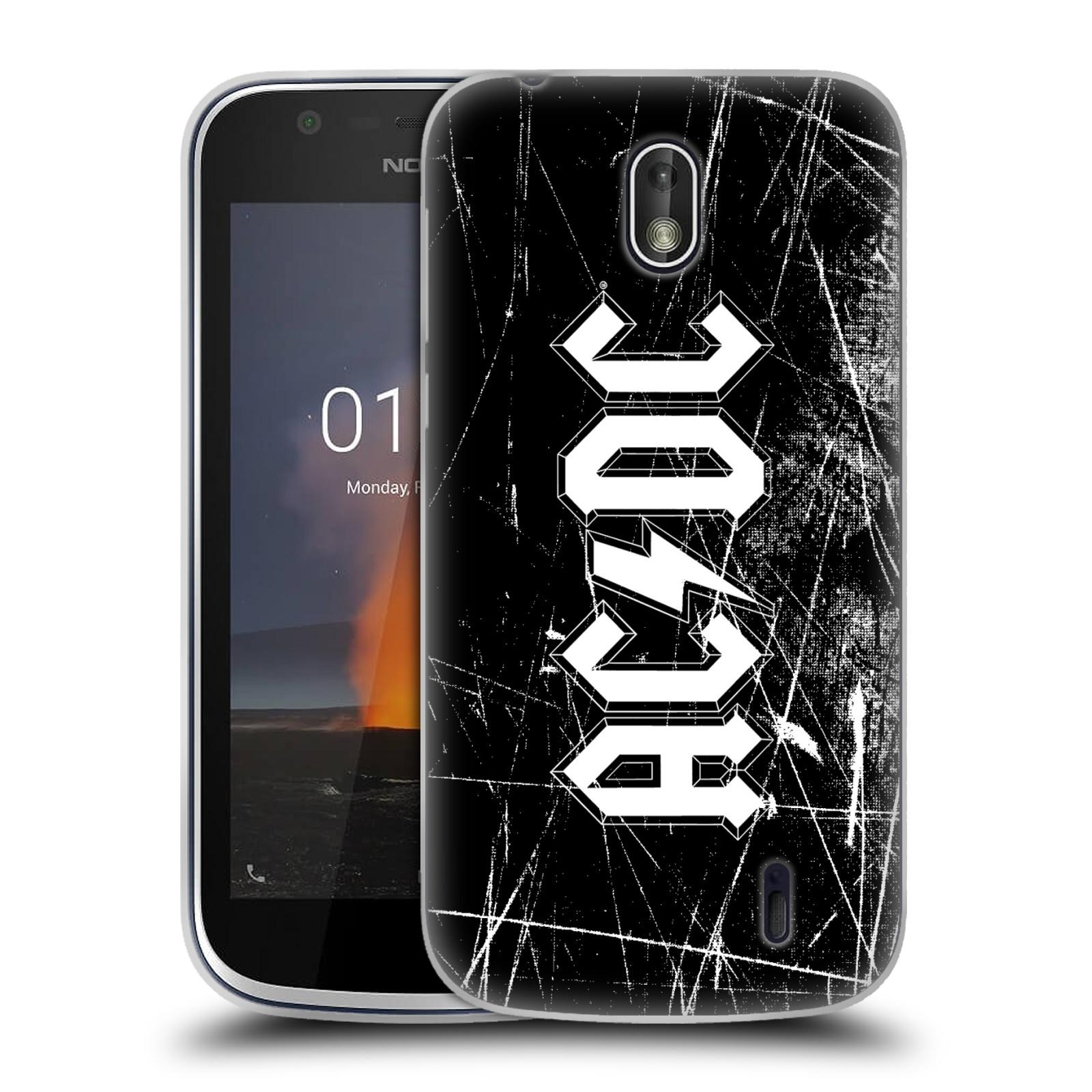 Silikonové pouzdro na mobil Nokia 1 - Head Case - AC/DC Černobílé logo