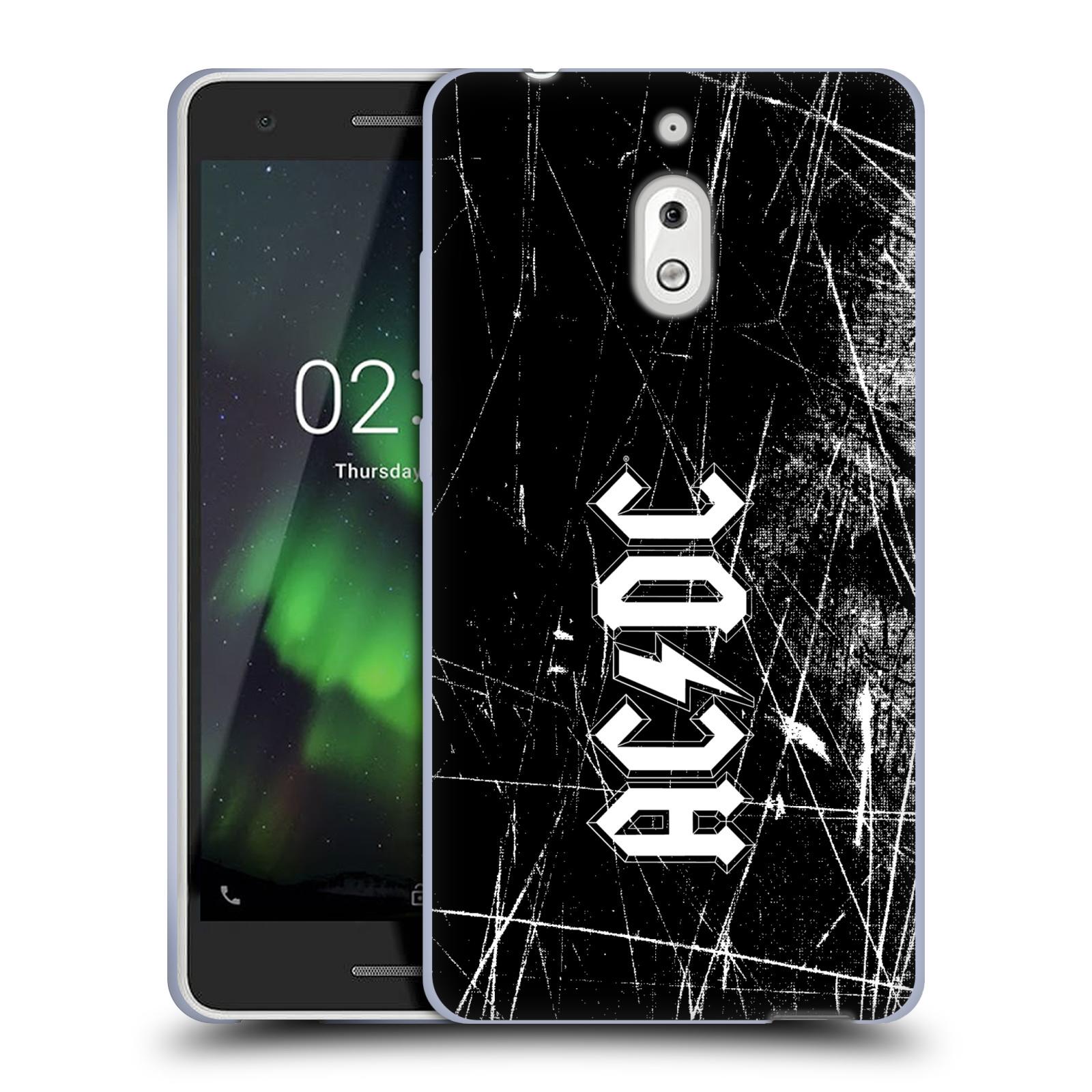 Silikonové pouzdro na mobil Nokia 2.1 - Head Case - AC/DC Černobílé logo