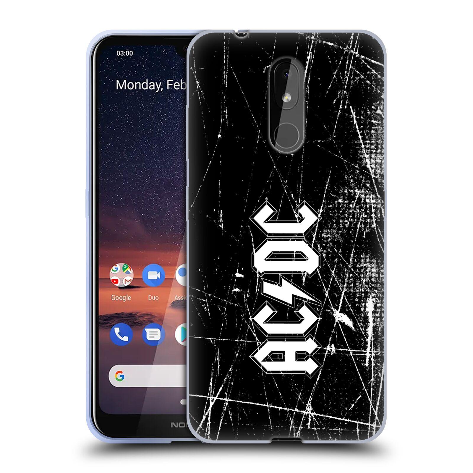 Silikonové pouzdro na mobil Nokia 3.2 - Head Case - AC/DC Černobílé logo