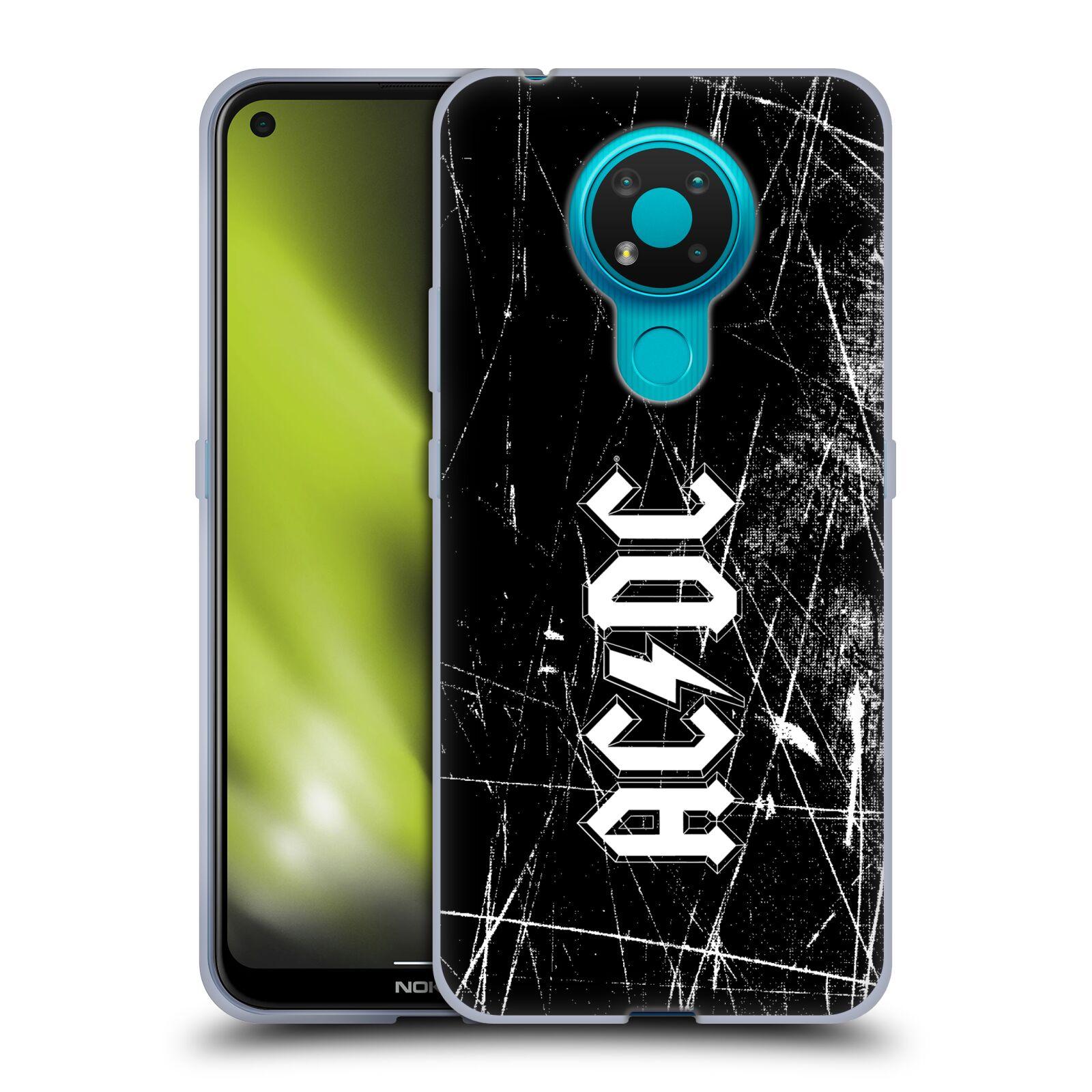 Silikonové pouzdro na mobil Nokia 3.4 - Head Case - AC/DC Černobílé logo