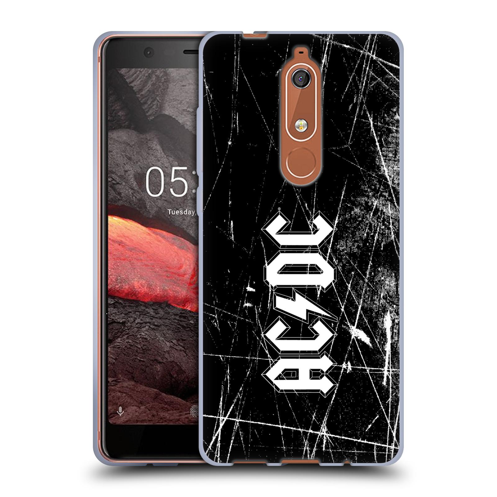 Silikonové pouzdro na mobil Nokia 5.1 - Head Case - AC/DC Černobílé logo