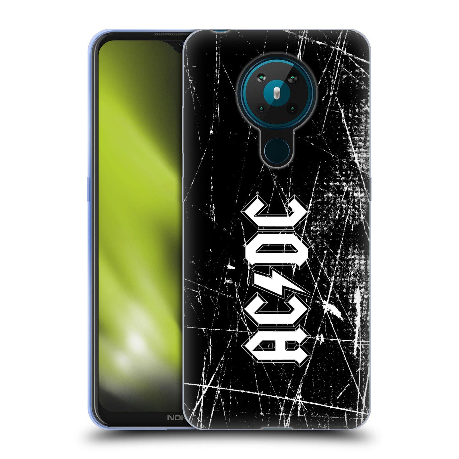 Silikonové pouzdro na mobil Nokia 5.3 - Head Case - AC/DC Černobílé logo