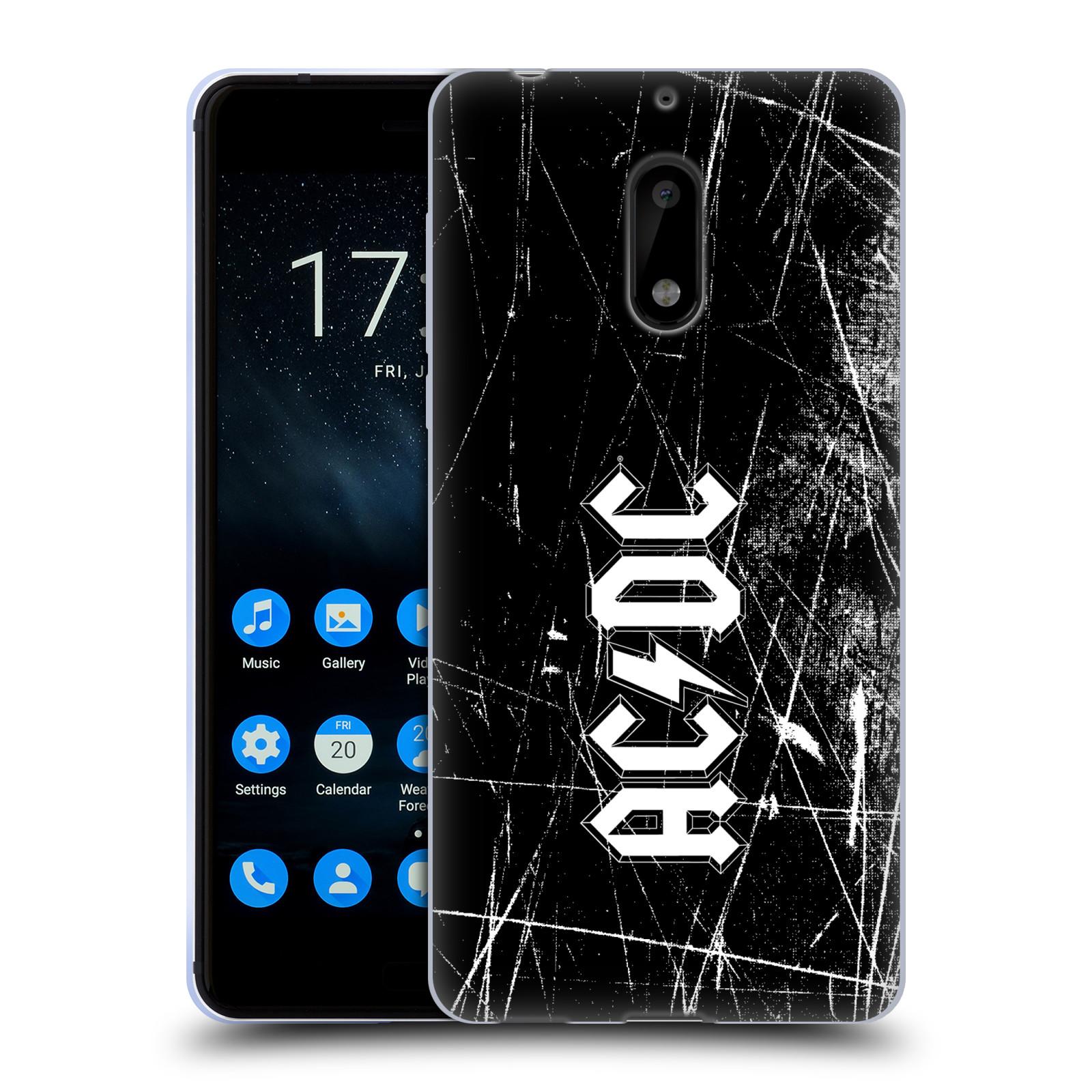 Silikonové pouzdro na mobil Nokia 6 - Head Case - AC/DC Černobílé logo