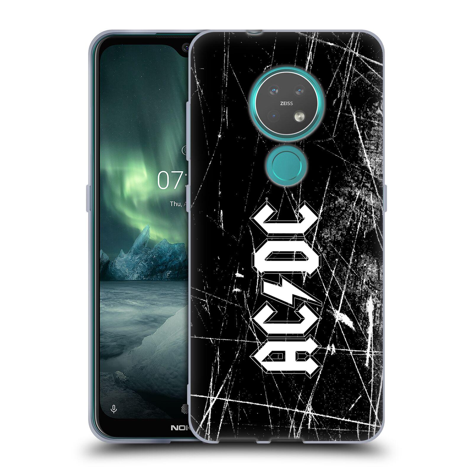 Silikonové pouzdro na mobil Nokia 7.2 - Head Case - AC/DC Černobílé logo