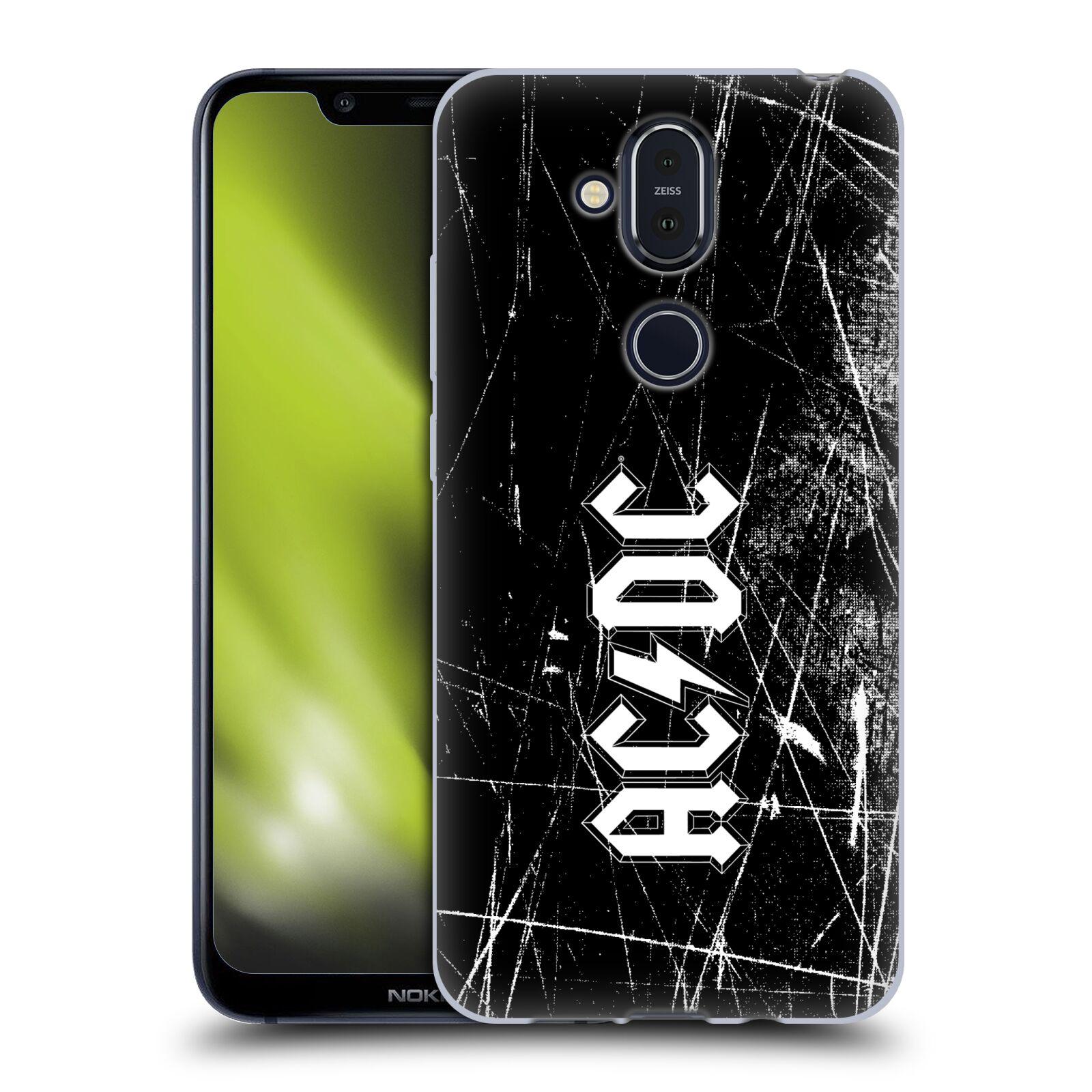 Silikonové pouzdro na mobil Nokia 8.1 - Head Case - AC/DC Černobílé logo