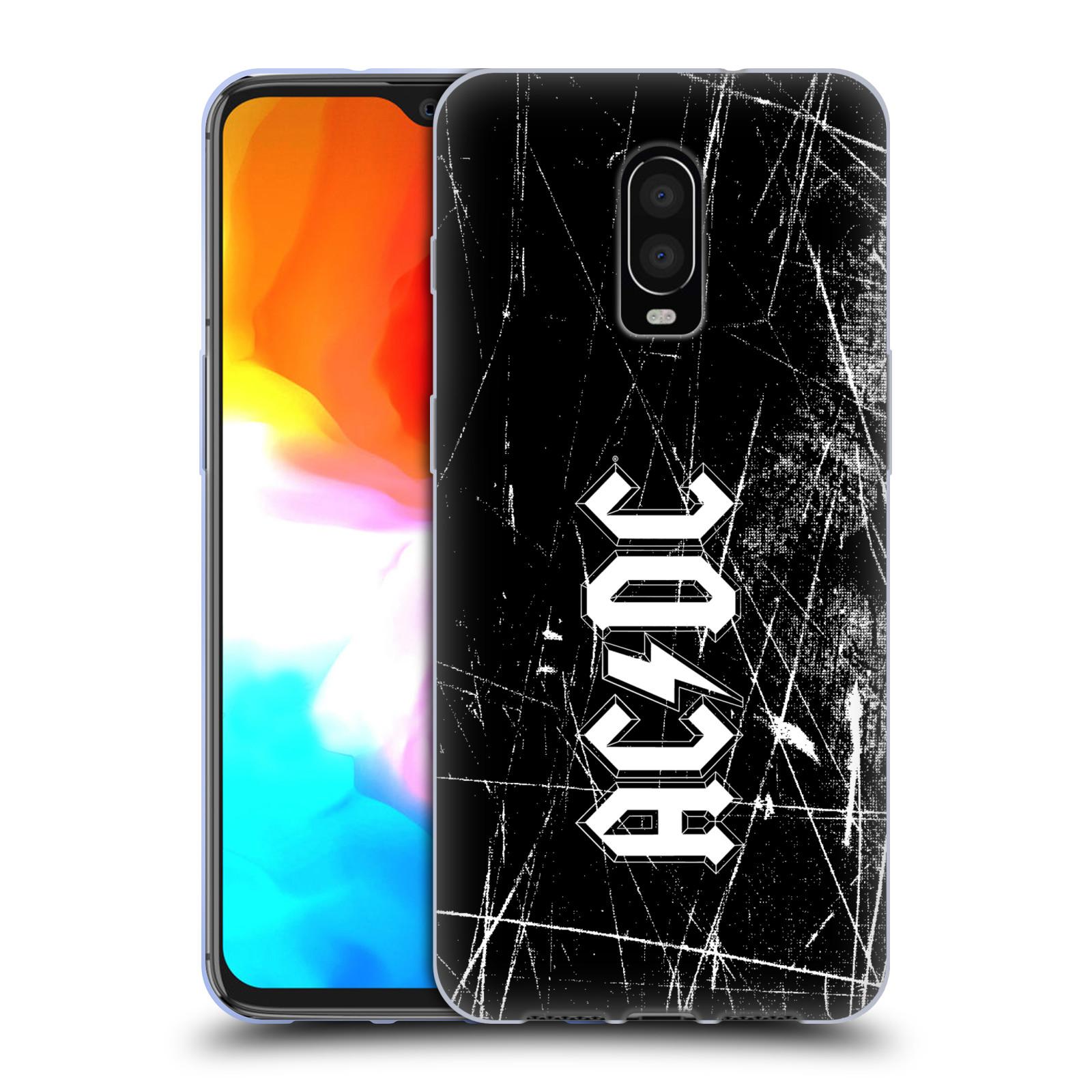 Silikonové pouzdro na mobil OnePlus 6T - Head Case - AC/DC Černobílé logo