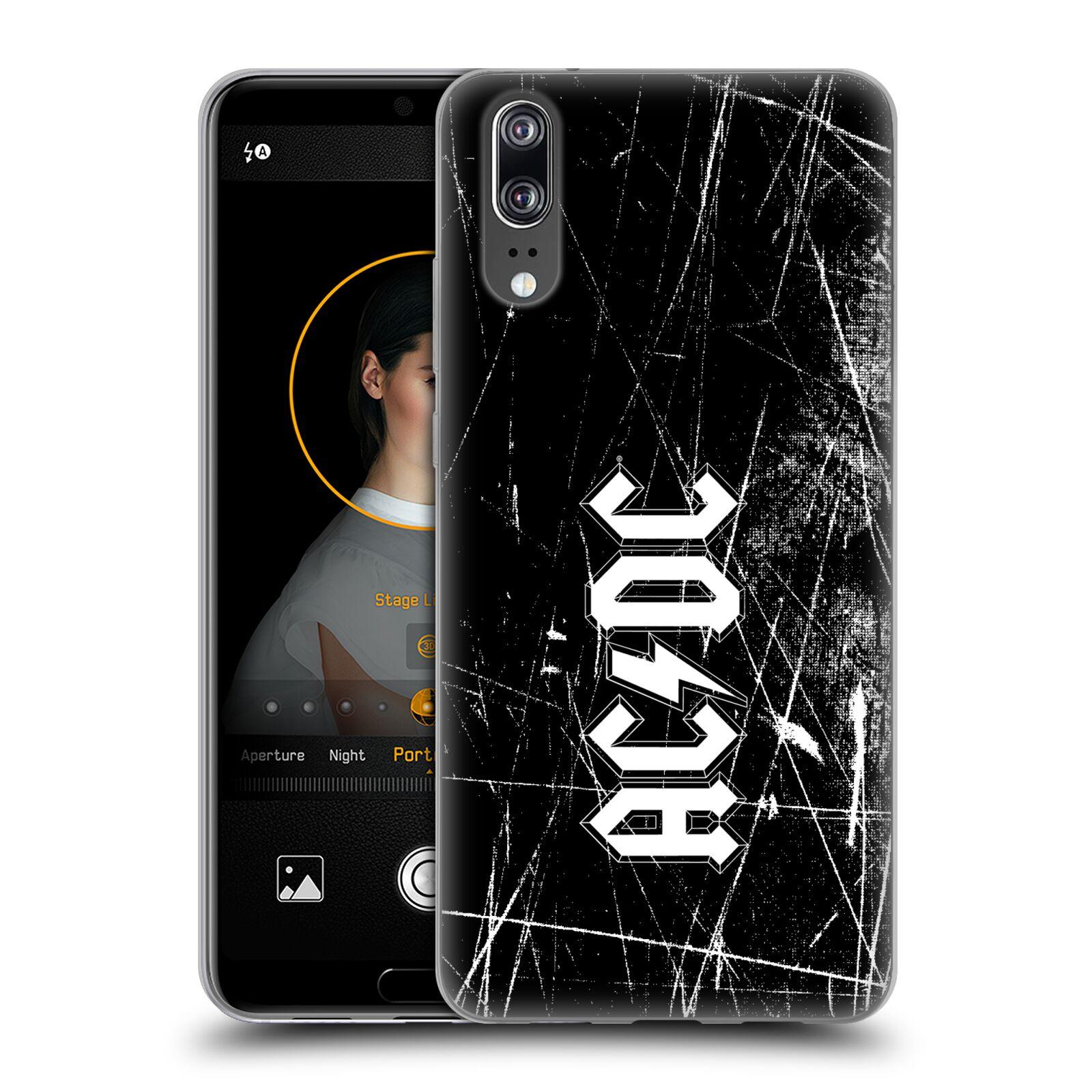 Silikonové pouzdro na mobil Huawei P20 - Head Case - AC/DC Černobílé logo