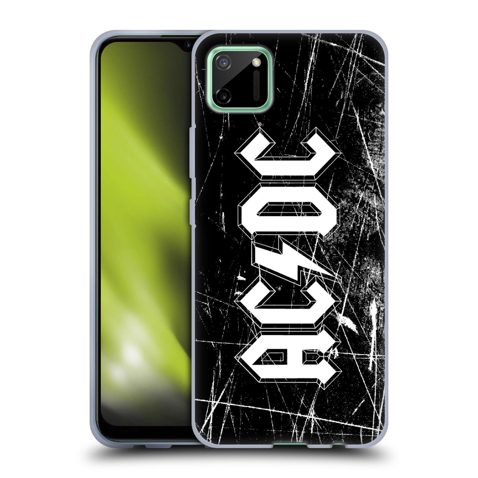 Silikonové pouzdro na mobil Realme C11 - Head Case - AC/DC Černobílé logo
