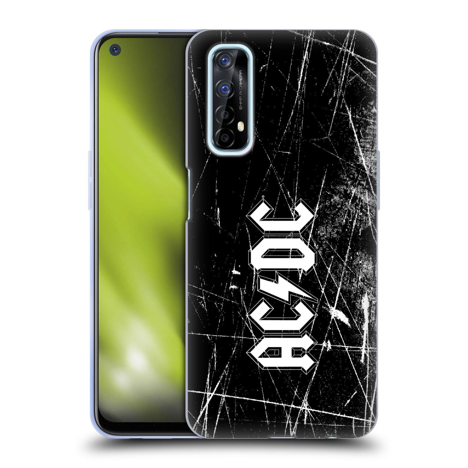Silikonové pouzdro na mobil Realme 7 - Head Case - AC/DC Černobílé logo