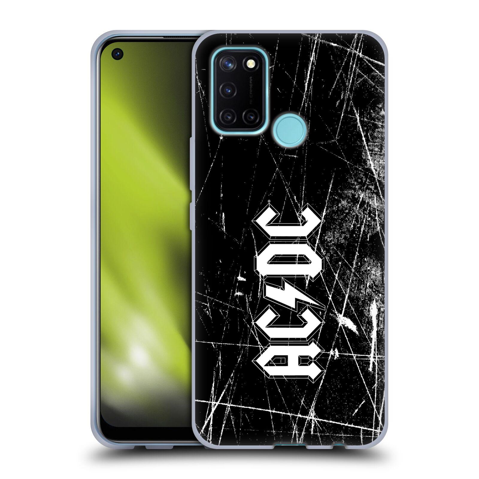 Silikonové pouzdro na mobil Realme 7i - Head Case - AC/DC Černobílé logo