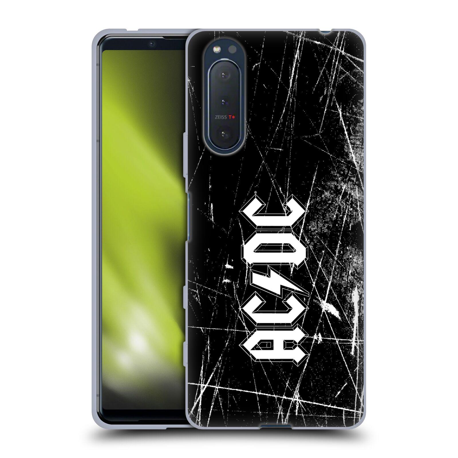 Silikonové pouzdro na mobil Sony Xperia 5 II - Head Case - AC/DC Černobílé logo