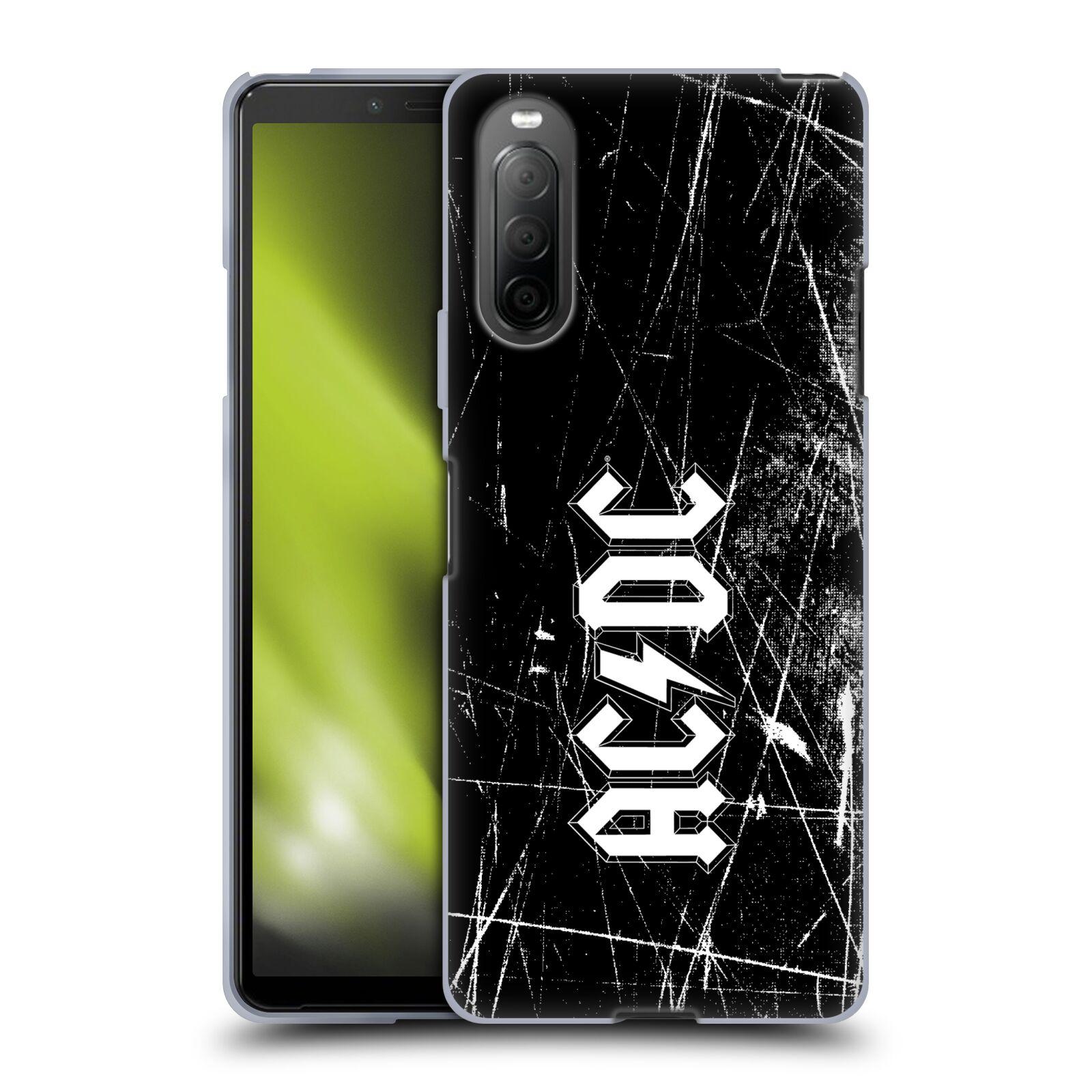 Silikonové pouzdro na mobil Sony Xperia 10 II - Head Case - AC/DC Černobílé logo