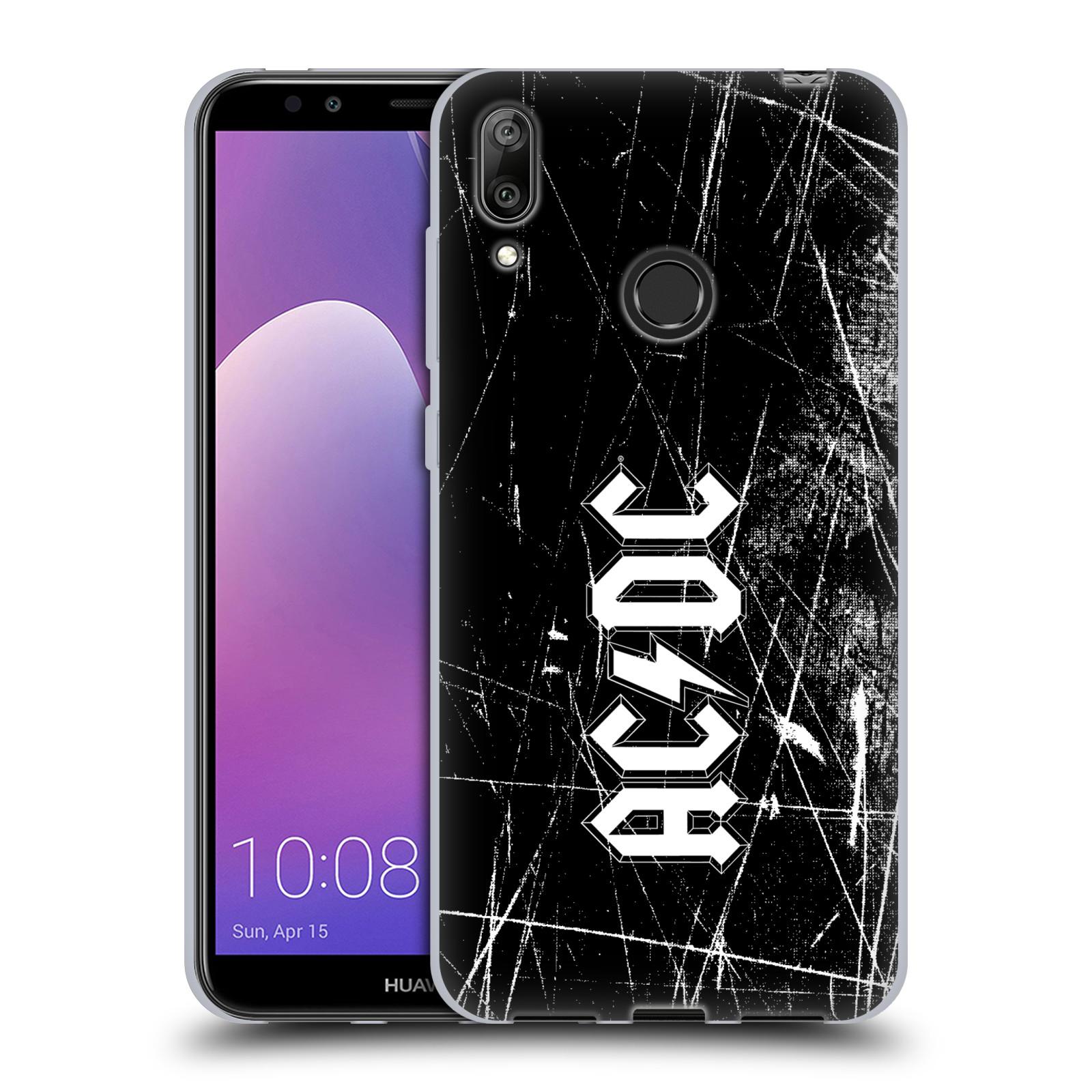 Silikonové pouzdro na mobil Huawei Y7 (2019) - Head Case - AC/DC Černobílé logo