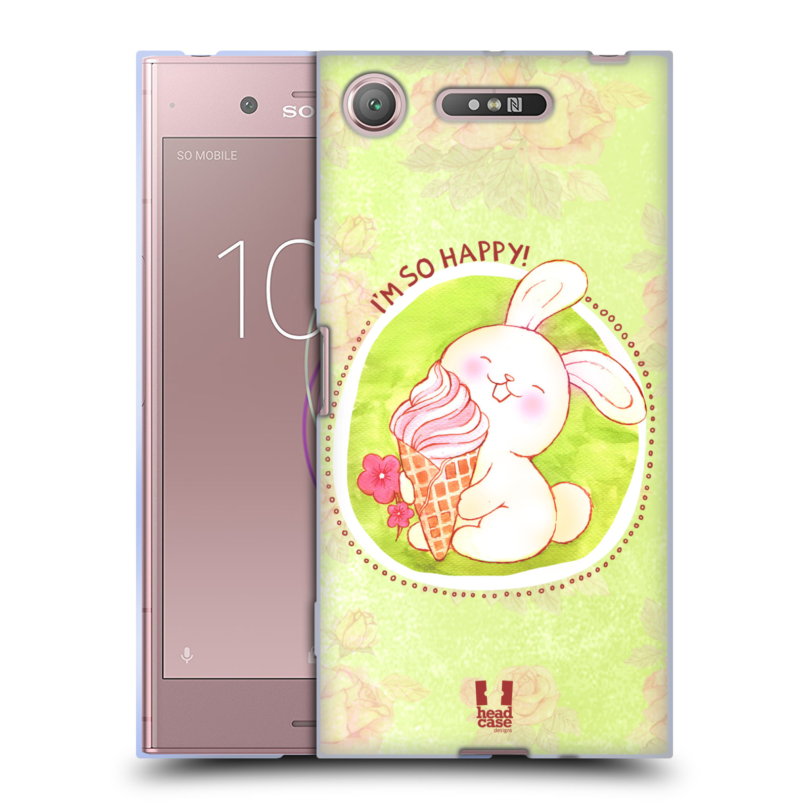 Silikonové pouzdro na mobil Sony Xperia XZ1 - Head Case - KRÁLÍČEK A ZMRZKA