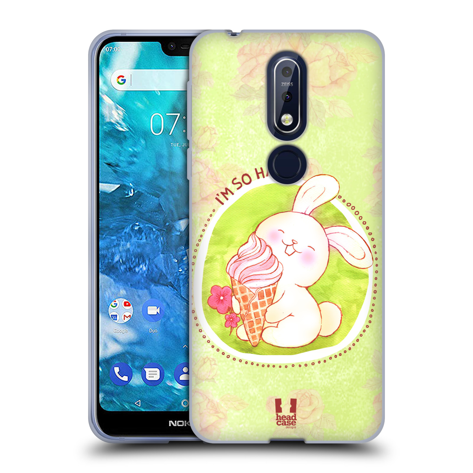Silikonové pouzdro na mobil Nokia 7.1 - Head Case - KRÁLÍČEK A ZMRZKA