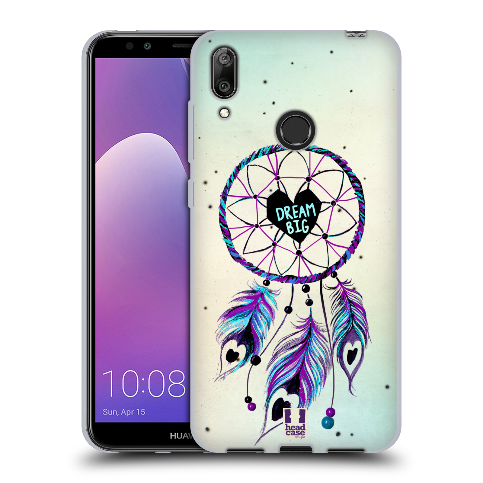 Silikonové pouzdro na mobil Huawei Y7 (2019) - Head Case - Lapač Assorted Dream Big Srdce