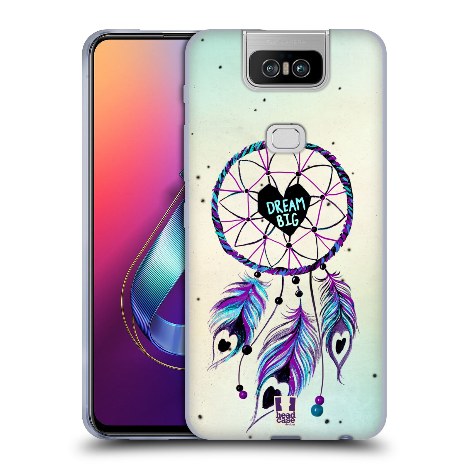 Silikonové pouzdro na mobil Asus Zenfone 6 ZS630KL - Head Case - Lapač Assorted Dream Big Srdce
