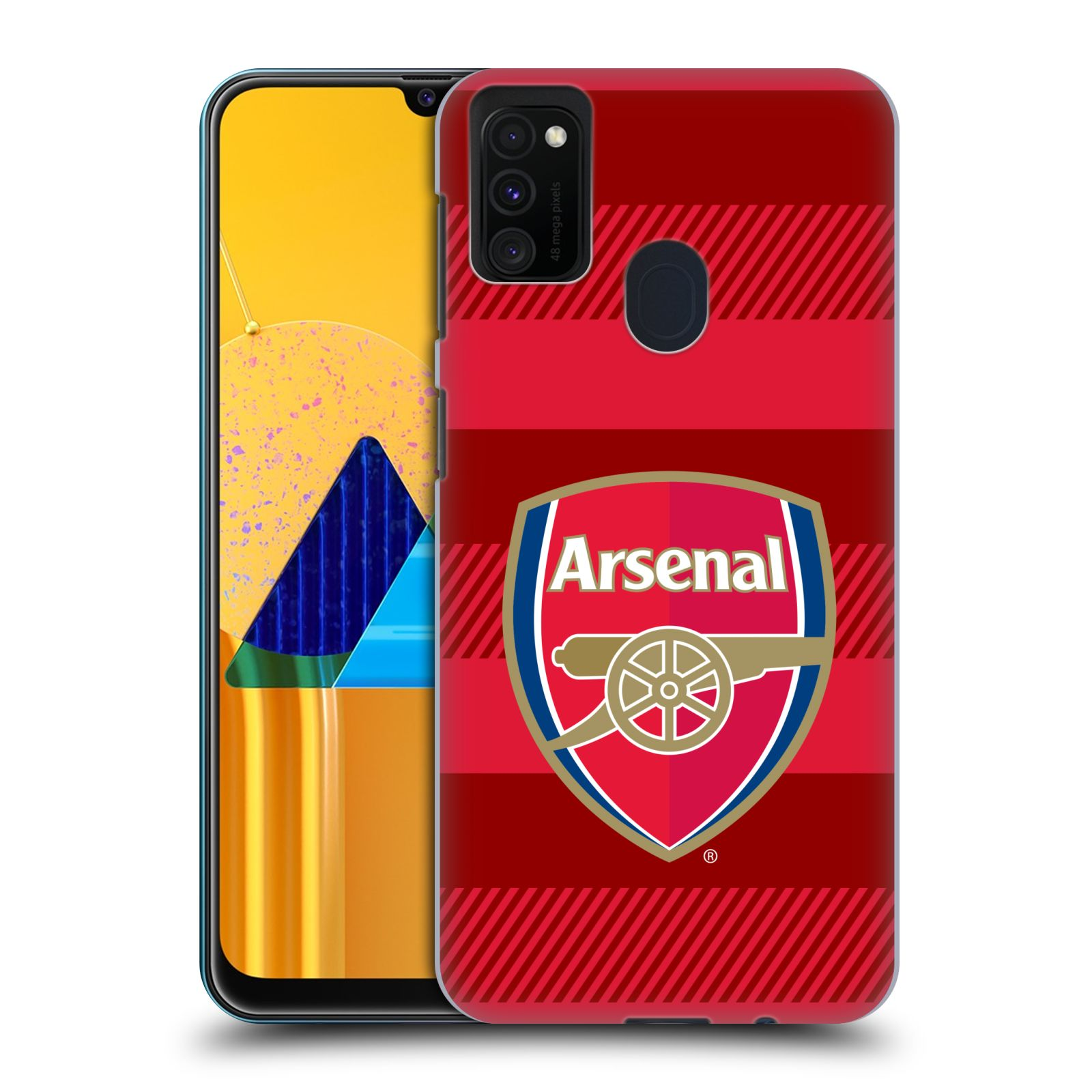 Plastové pouzdro na mobil Samsung Galaxy M21 - Head Case - Arsenal FC - Logo s pruhy