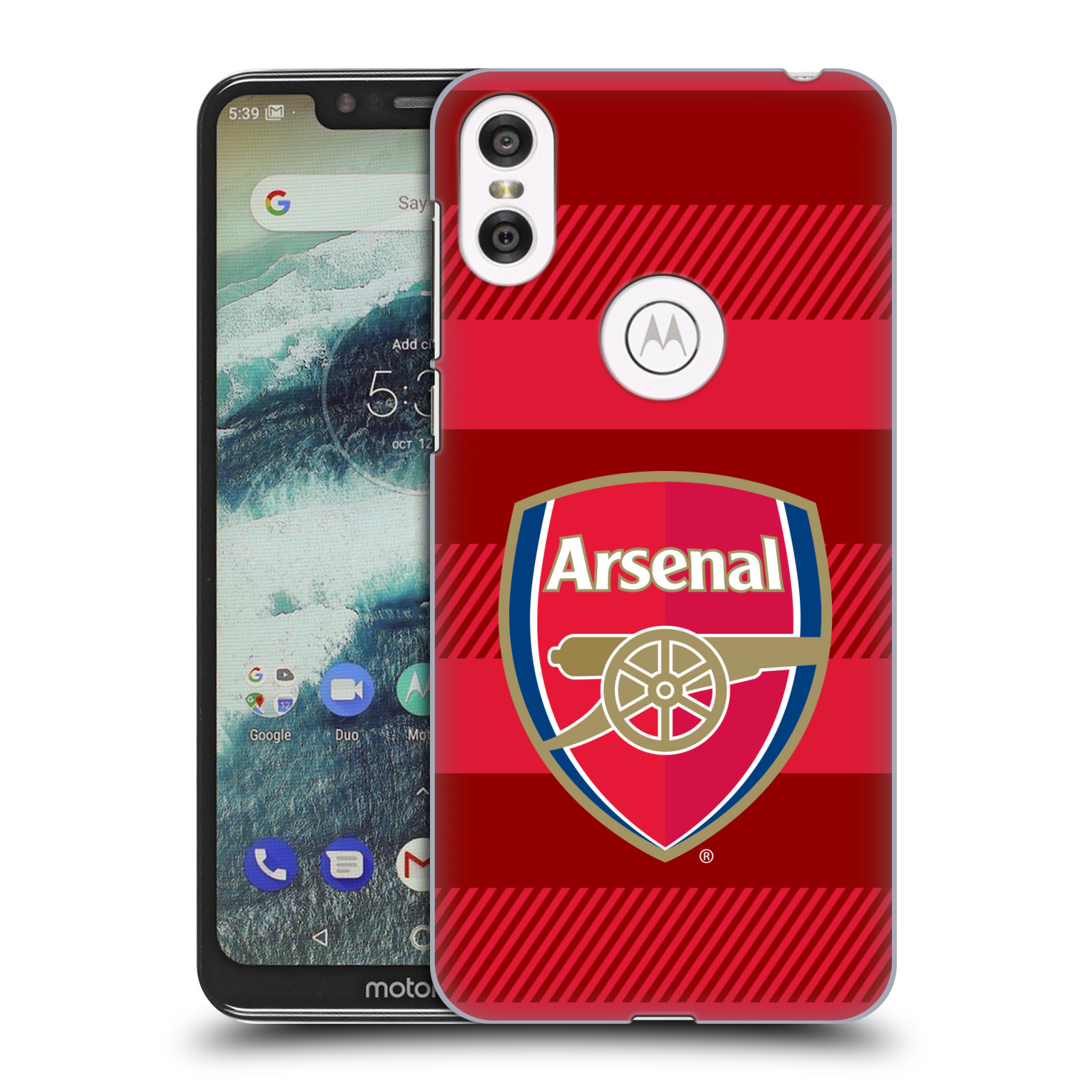 Plastové pouzdro na mobil Motorola One - Head Case - Arsenal FC - Logo s pruhy