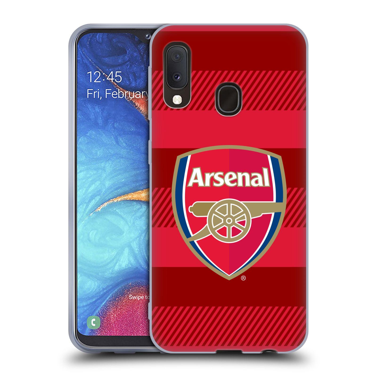 Silikonové pouzdro na mobil Samsung Galaxy A20e - Head Case - Arsenal FC - Logo s pruhy