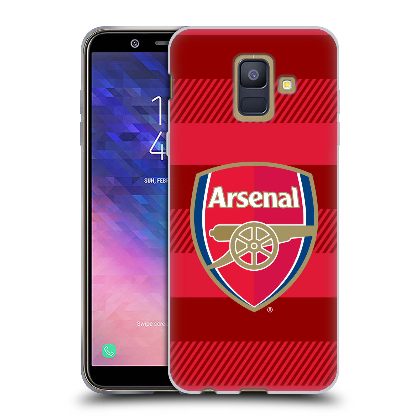 Silikonové pouzdro na mobil Samsung Galaxy A6 (2018) - Head Case - Arsenal FC - Logo s pruhy
