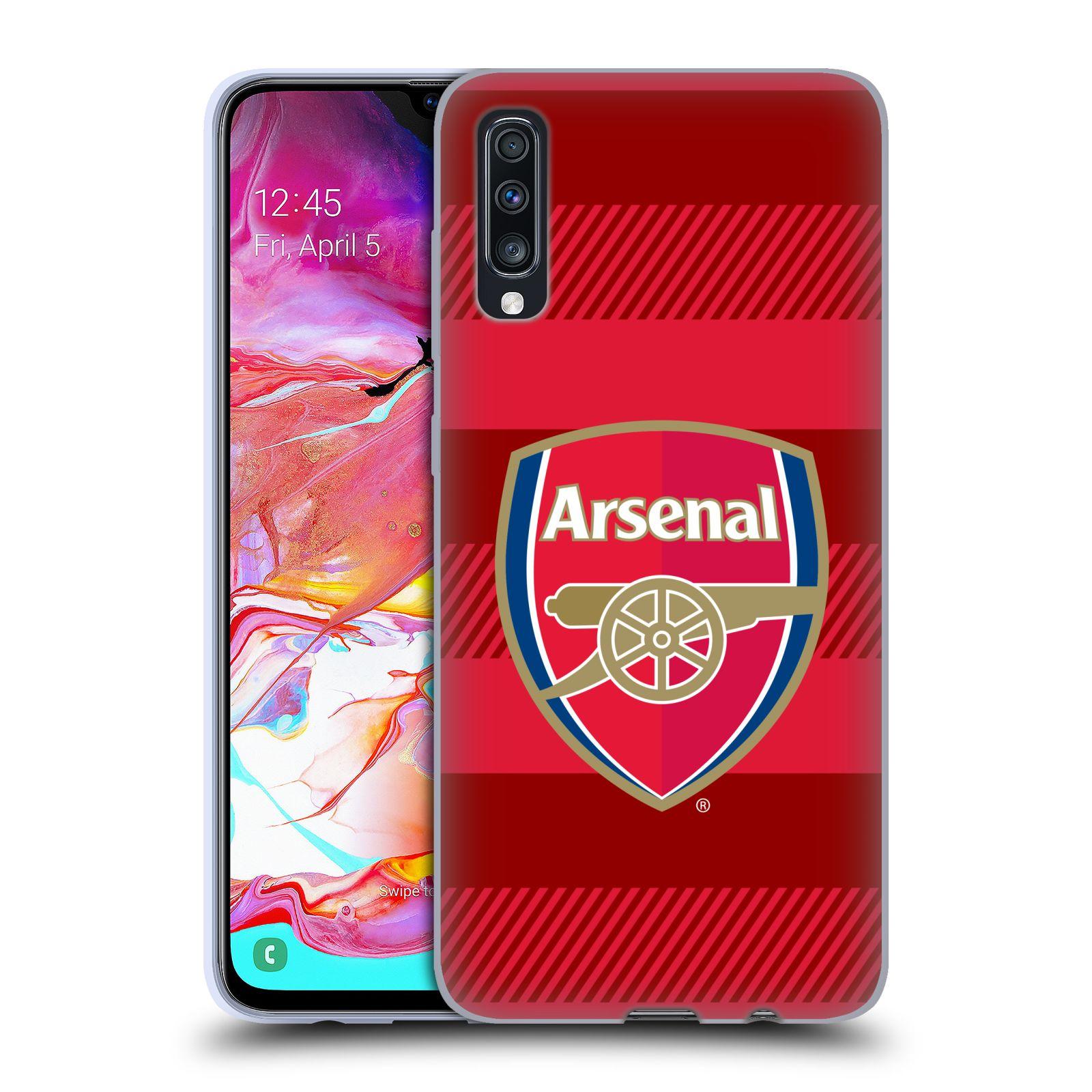 Silikonové pouzdro na mobil Samsung Galaxy A70 - Head Case - Arsenal FC - Logo s pruhy