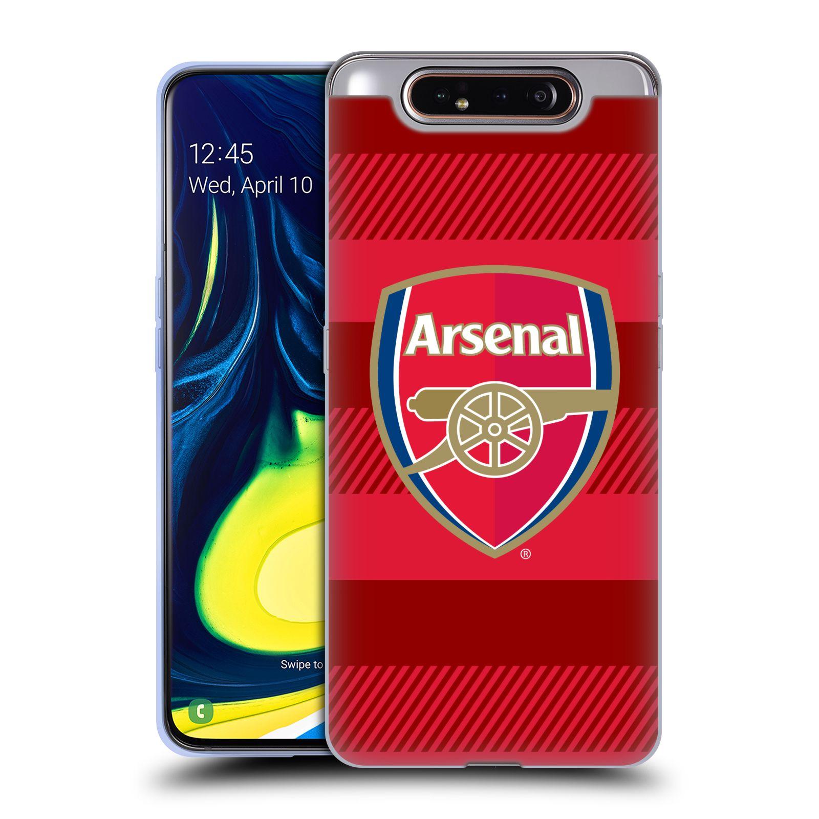 Silikonové pouzdro na mobil Samsung Galaxy A80 - Head Case - Arsenal FC - Logo s pruhy