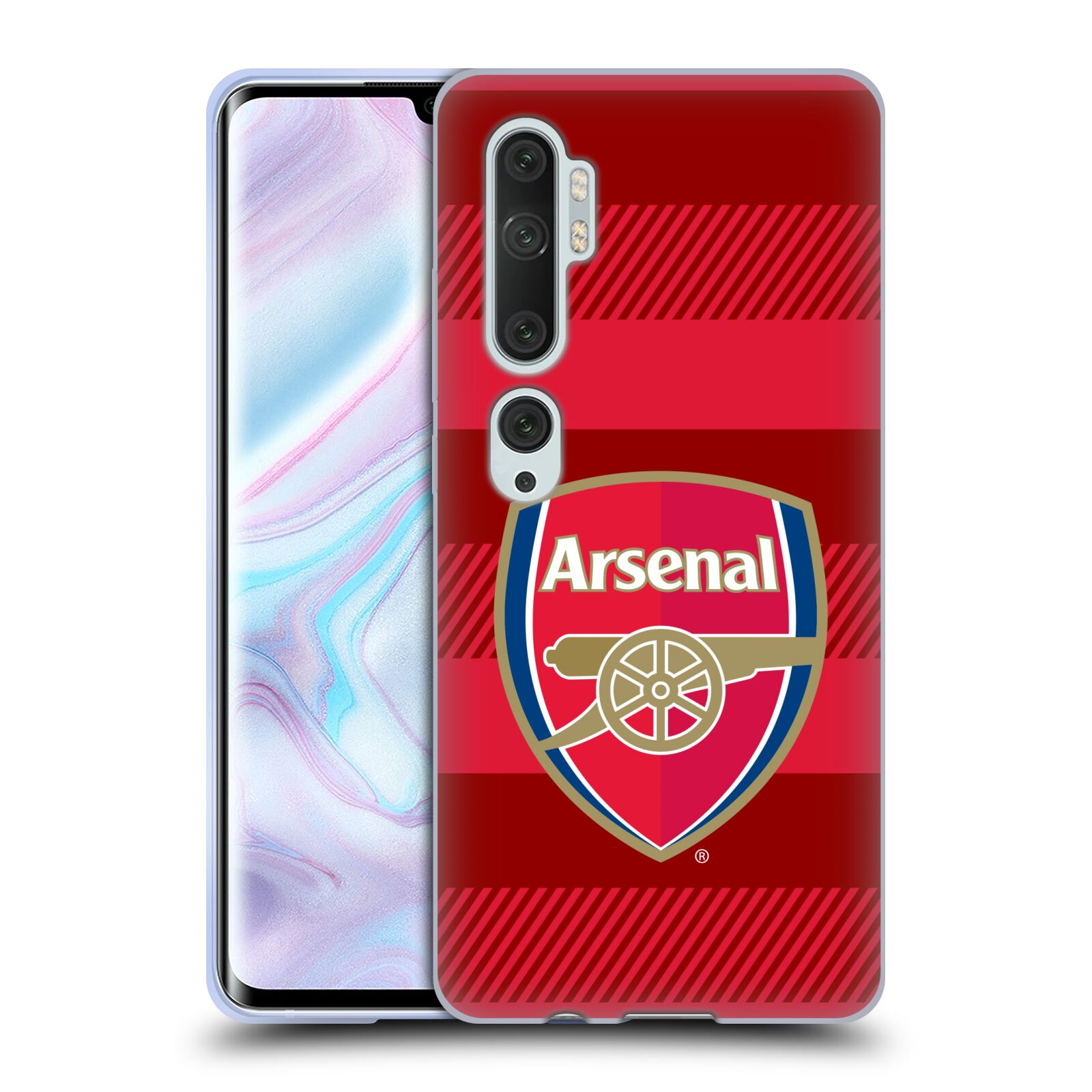 Silikonové pouzdro na mobil Xiaomi Mi Note 10 / 10 Pro - Head Case - Arsenal FC - Logo s pruhy