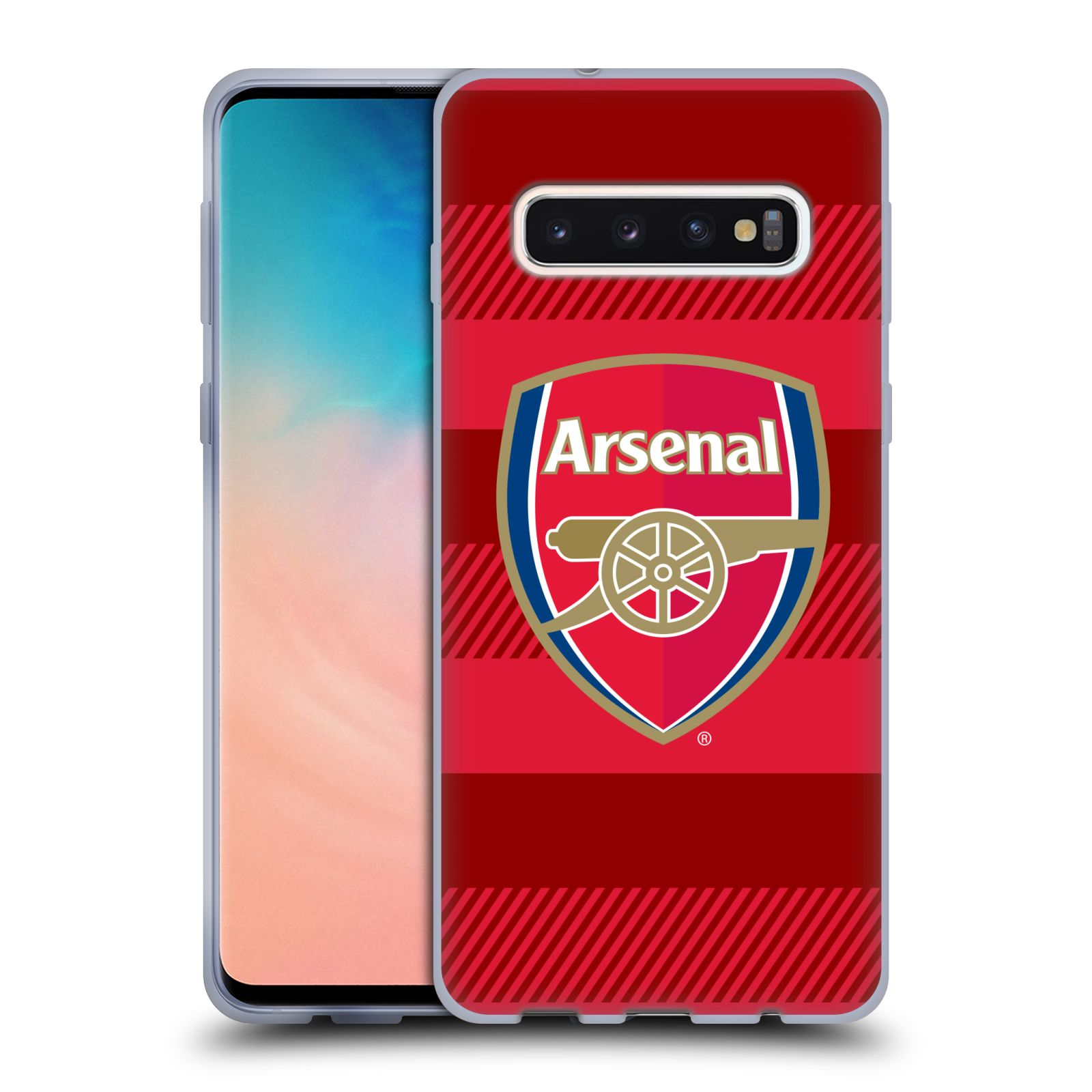 Silikonové pouzdro na mobil Samsung Galaxy S10 - Head Case - Arsenal FC - Logo s pruhy