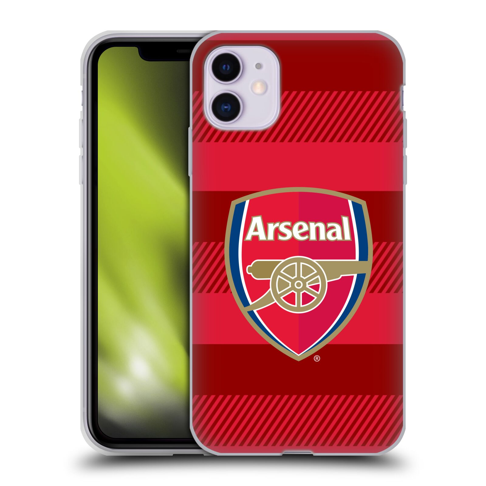 Silikonové pouzdro na mobil Apple iPhone 11 - Head Case - Arsenal FC - Logo s pruhy