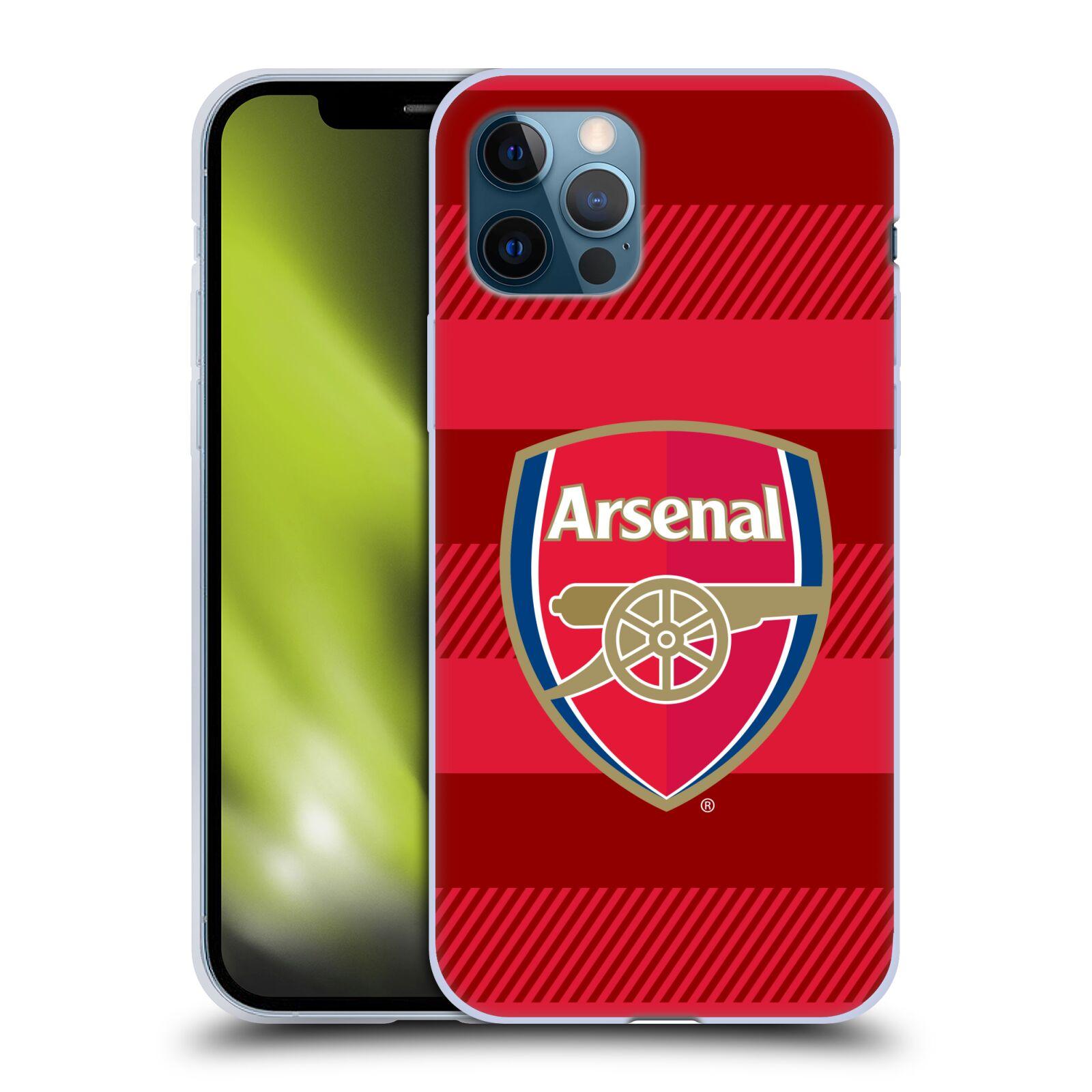 Silikonové pouzdro na mobil Apple iPhone 12 / 12 Pro - Head Case - Arsenal FC - Logo s pruhy