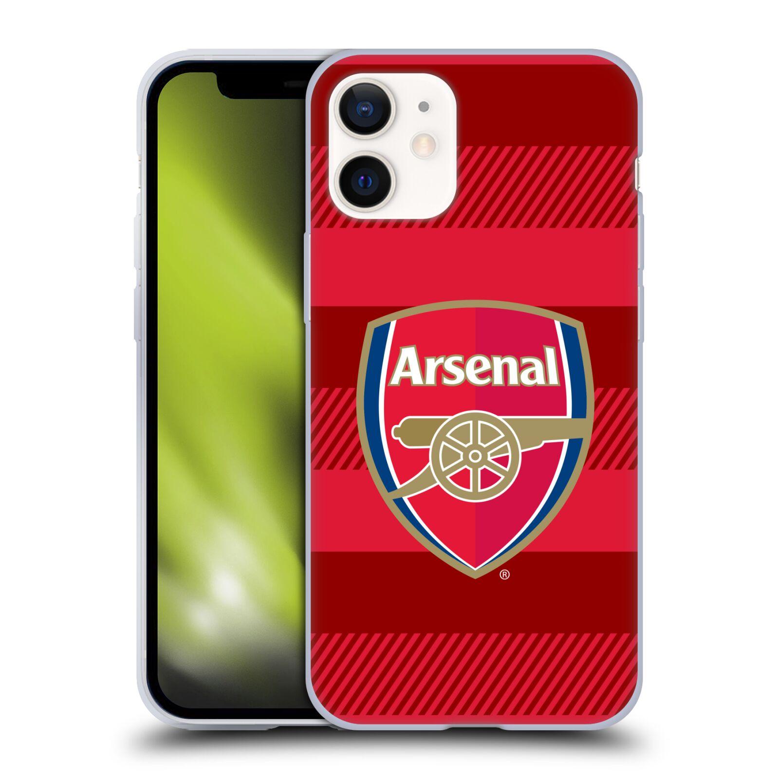 Silikonové pouzdro na mobil Apple iPhone 12 Mini - Head Case - Arsenal FC - Logo s pruhy