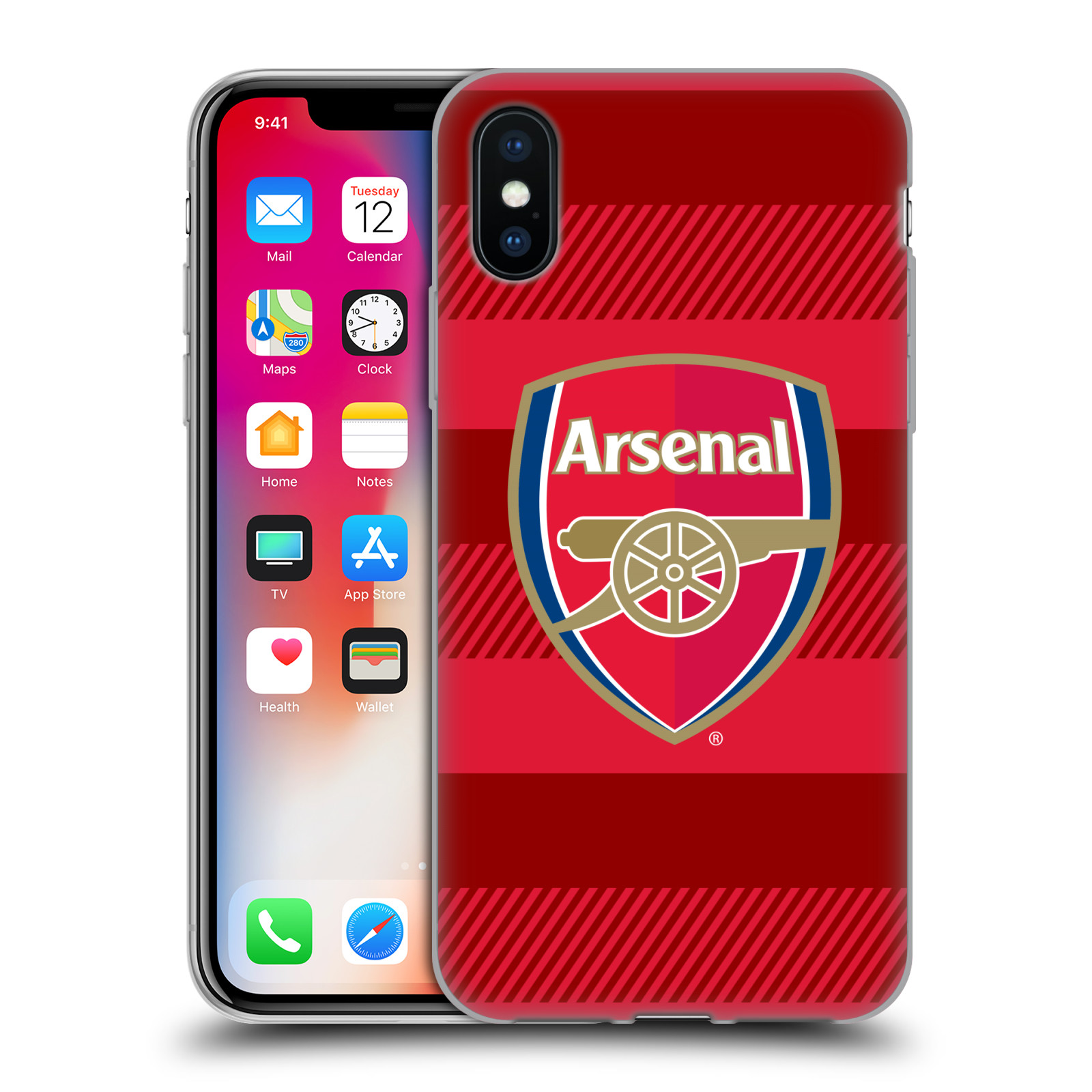 Silikonové pouzdro na mobil Apple iPhone XS - Head Case - Arsenal FC - Logo s pruhy