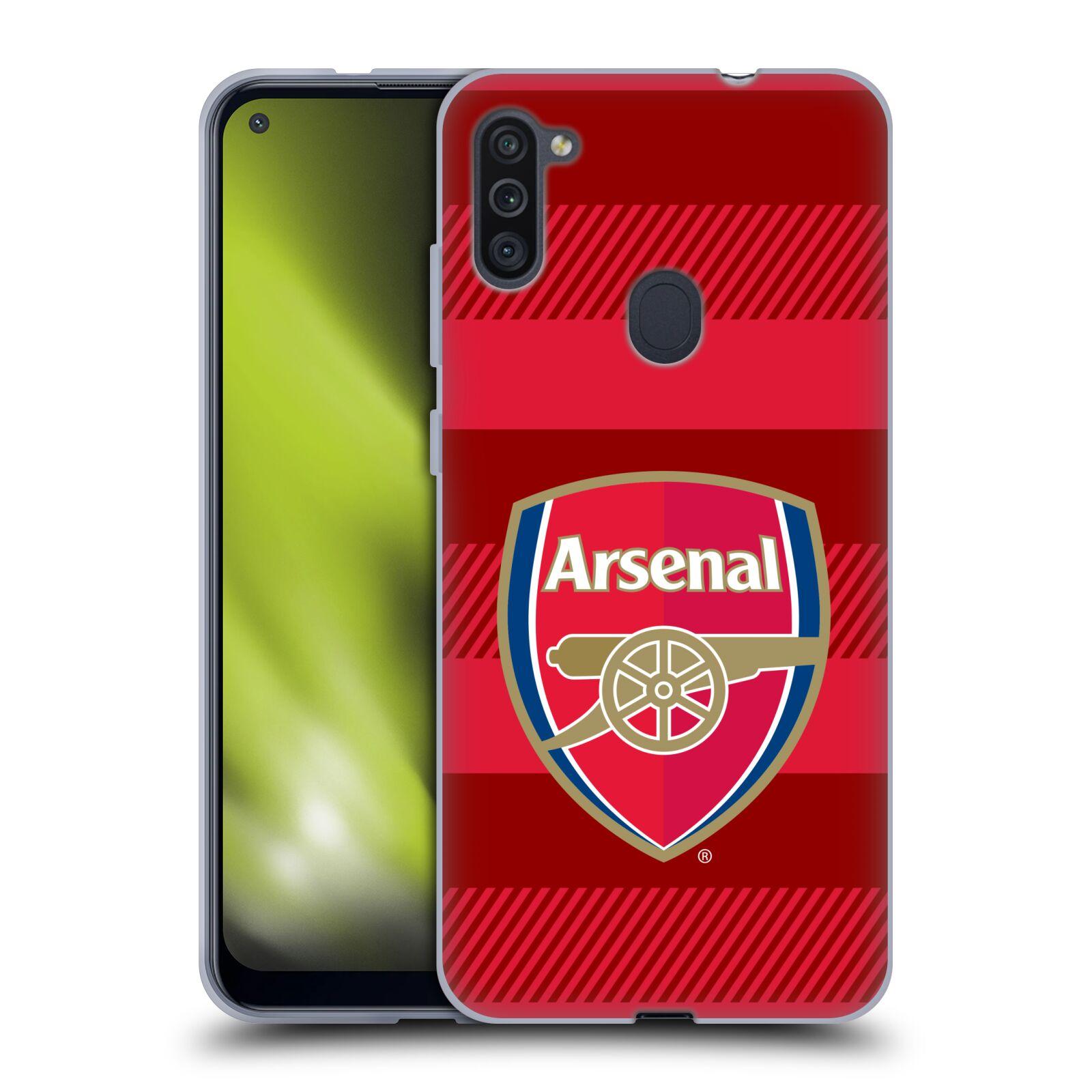 Silikonové pouzdro na mobil Samsung Galaxy M11 - Head Case - Arsenal FC - Logo s pruhy