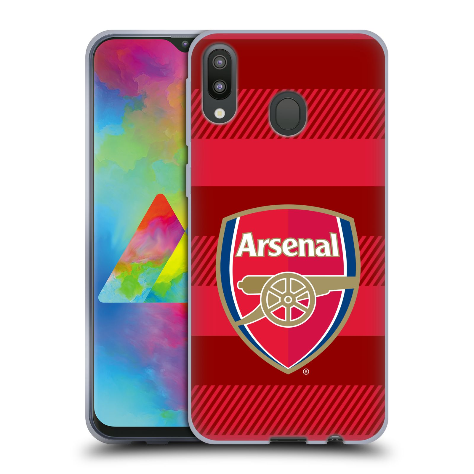 Silikonové pouzdro na mobil Samsung Galaxy M20 - Head Case - Arsenal FC - Logo s pruhy
