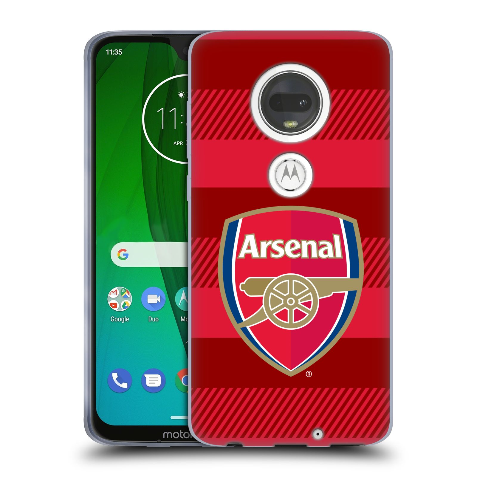 Silikonové pouzdro na mobil Motorola Moto G7 - Head Case - Arsenal FC - Logo s pruhy