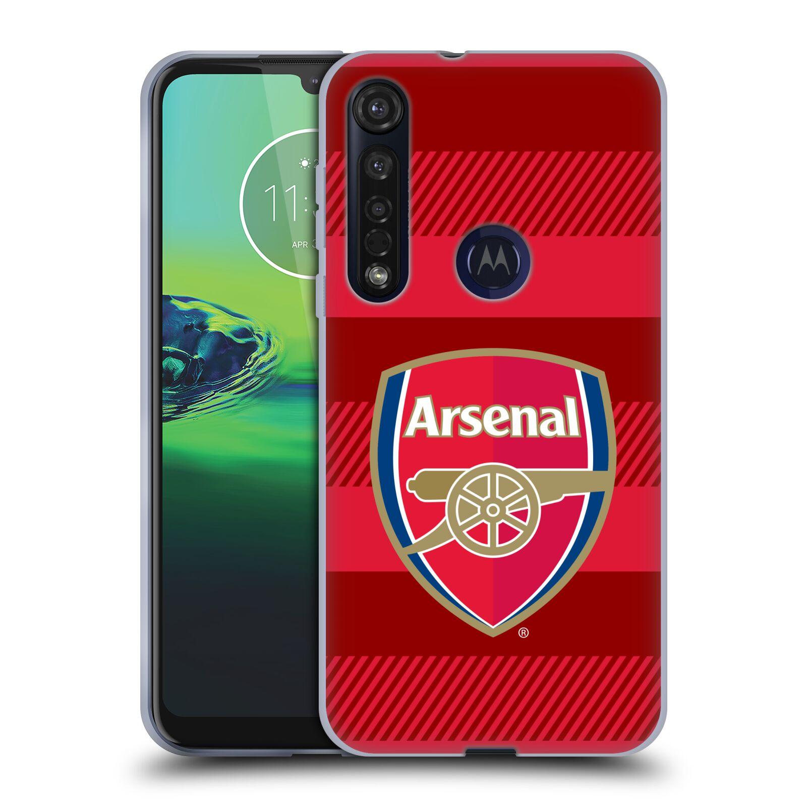 Silikonové pouzdro na mobil Motorola Moto G8 Plus - Head Case - Arsenal FC - Logo s pruhy