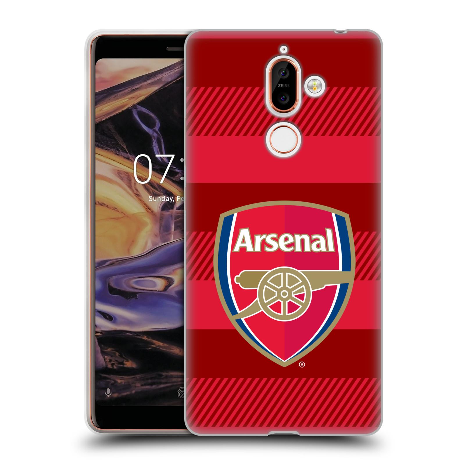 Silikonové pouzdro na mobil Nokia 7 Plus - Head Case - Arsenal FC - Logo s pruhy