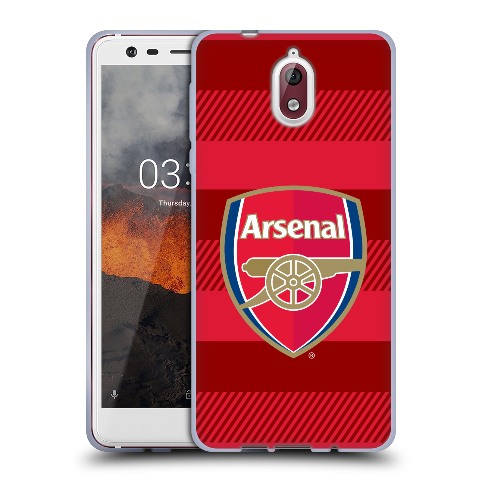 Silikonové pouzdro na mobil Nokia 3.1 - Head Case - Arsenal FC - Logo s pruhy