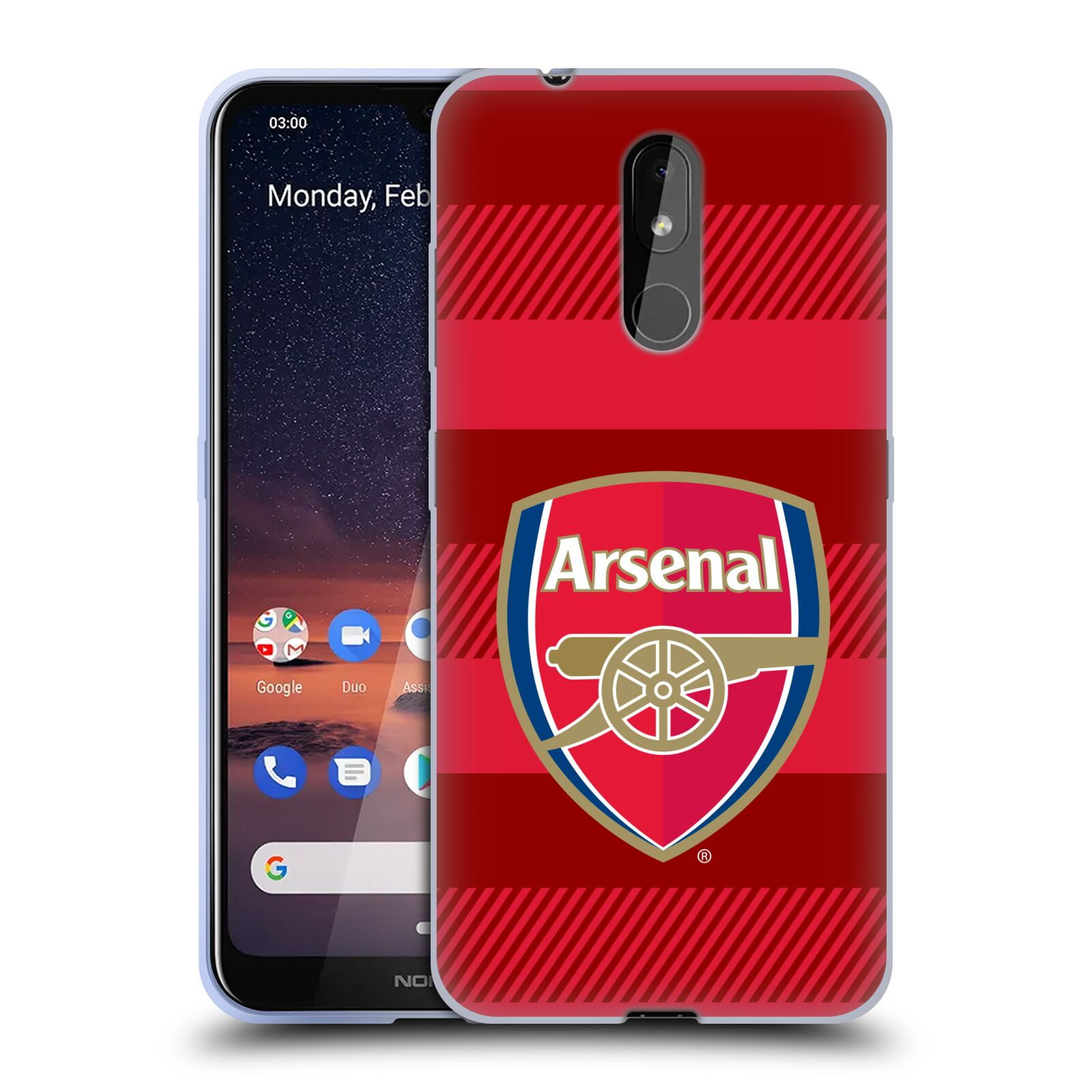 Silikonové pouzdro na mobil Nokia 3.2 - Head Case - Arsenal FC - Logo s pruhy